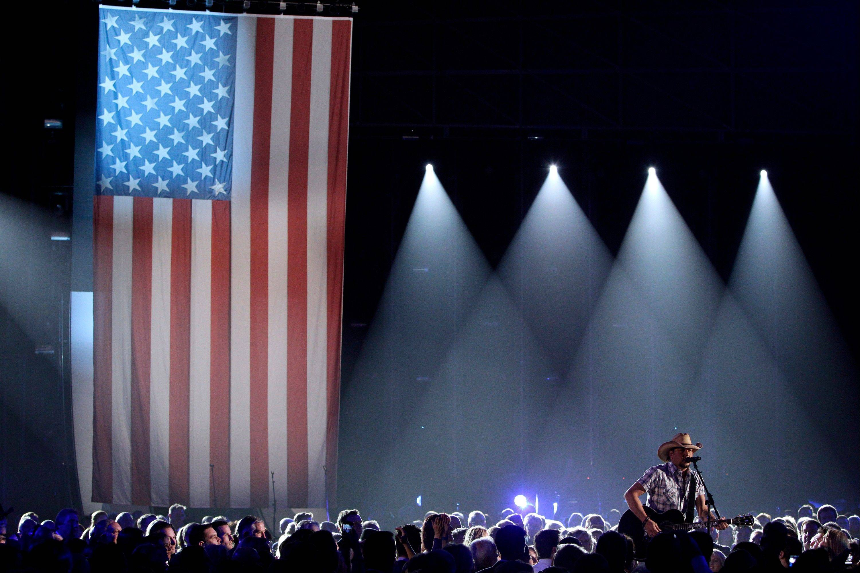 Jason Aldean performs during the opening of the 46th Annual Country Music Awards at the Bridgestone Arena on Thursday, Nov. 1, 2012, in Nashville, Tenn.