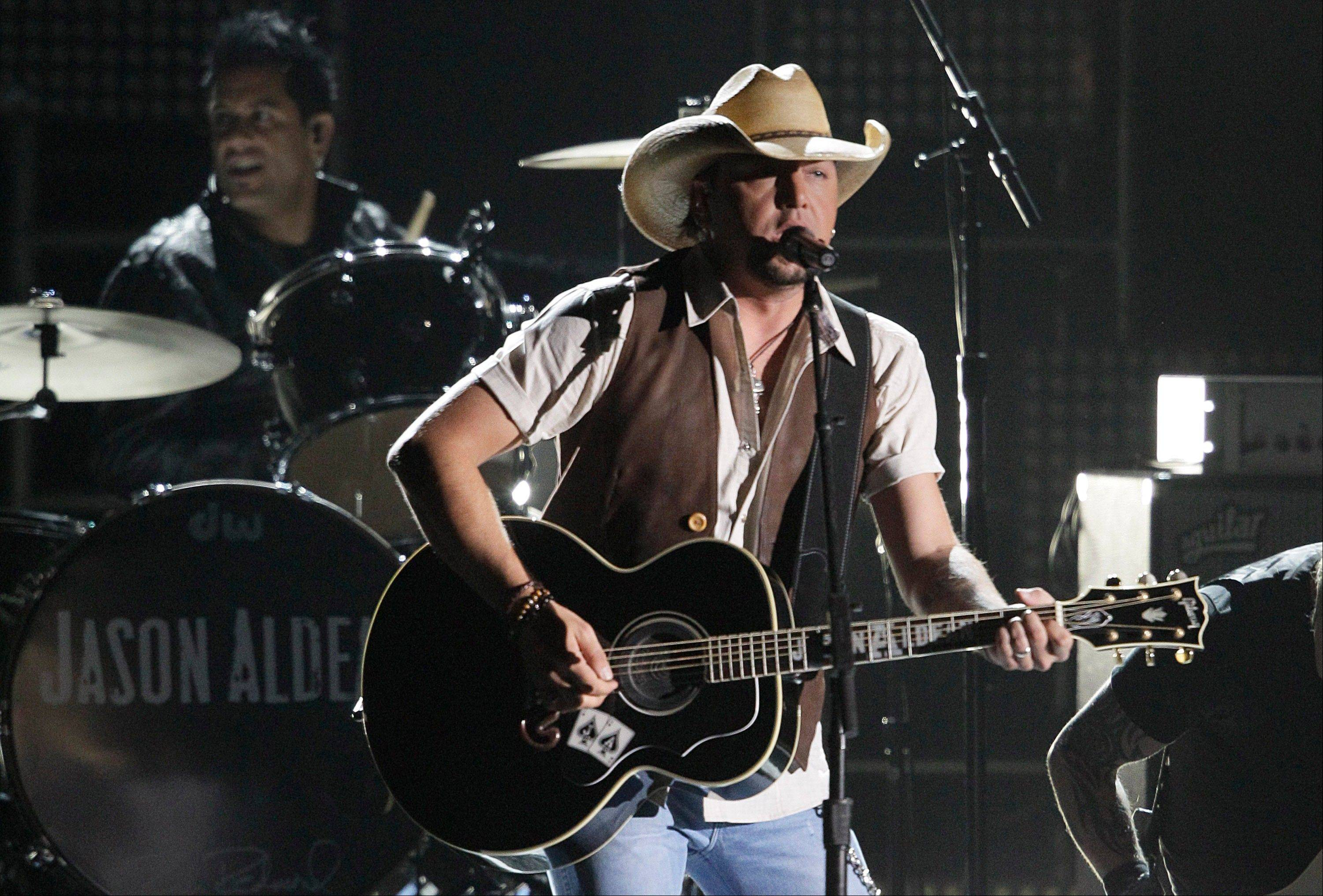 Jason Aldean performs at the 46th Annual Country Music Awards at the Bridgestone Arena on Thursday, Nov. 1, 2012, in Nashville, Tenn.