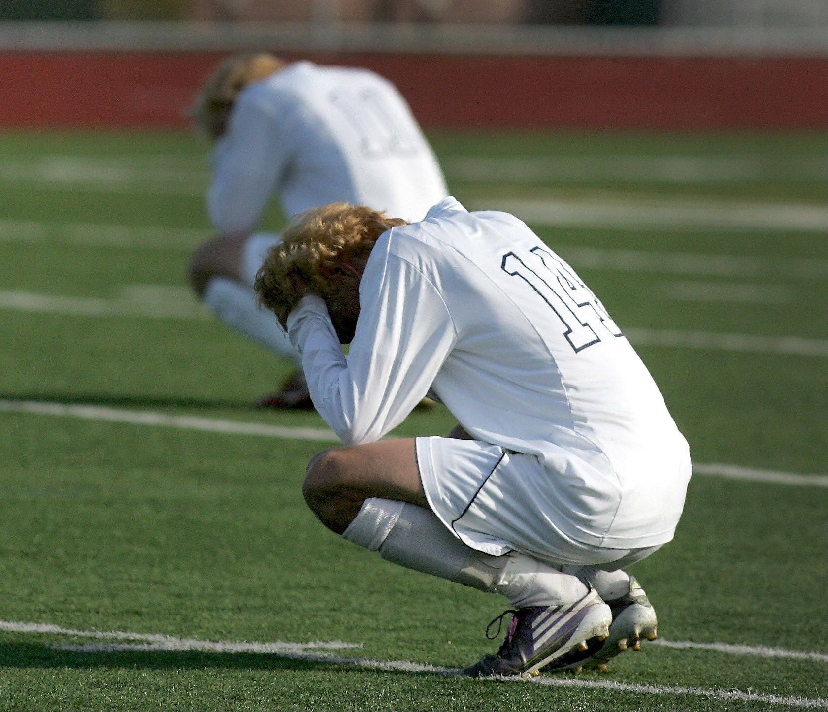St. Viator reacts after its loss to Urbana in the Class 2A boys soccer state semifinals on Friday in Frankfort.