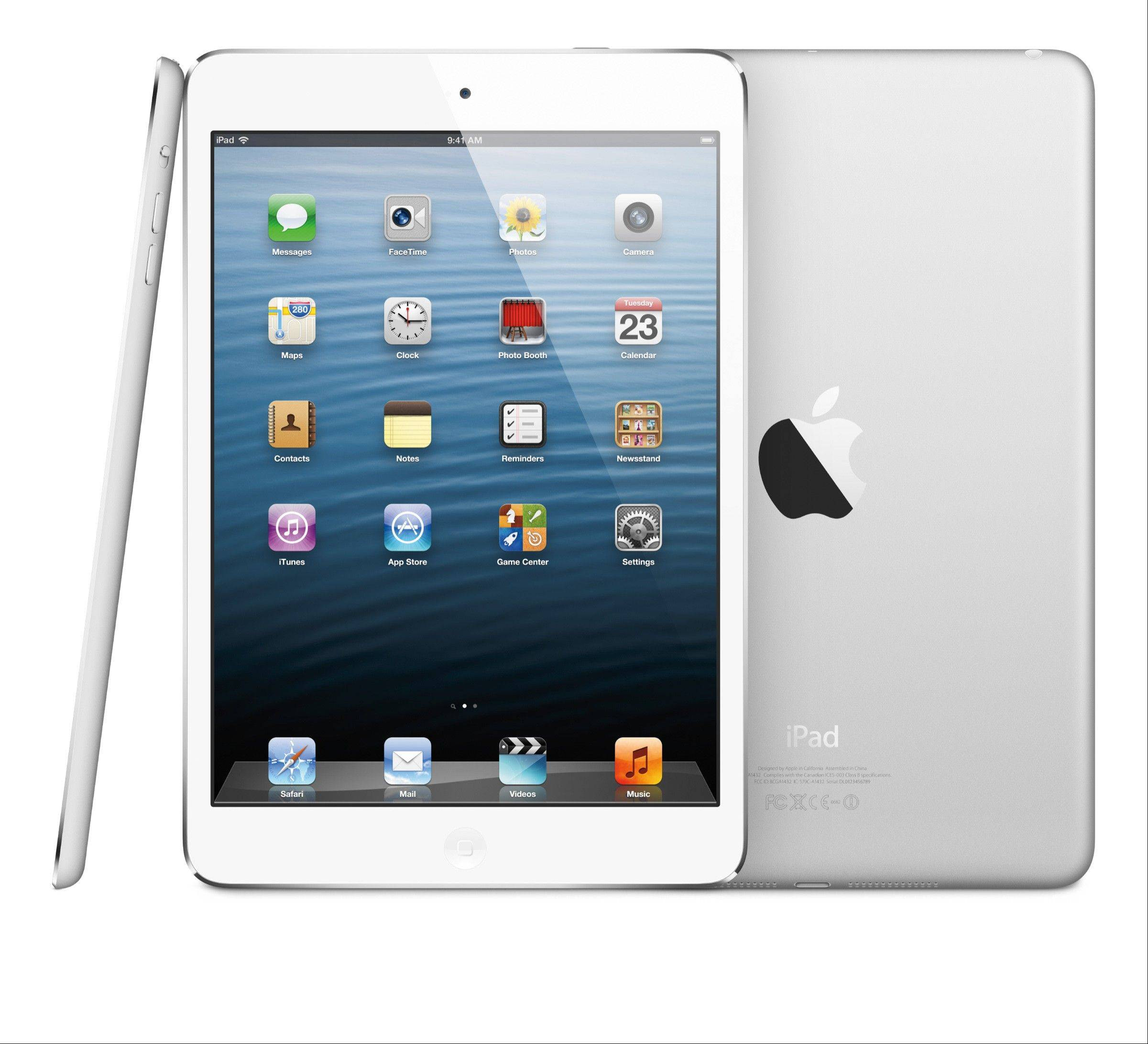 The Apple Inc. iPad mini is seen in this undated handout photo released to the media on Tuesday, Oct. 23, 2012. The device boasts a 7.9-inch screen diagonally, compared with the 9.7-inch screen of the current iPad.