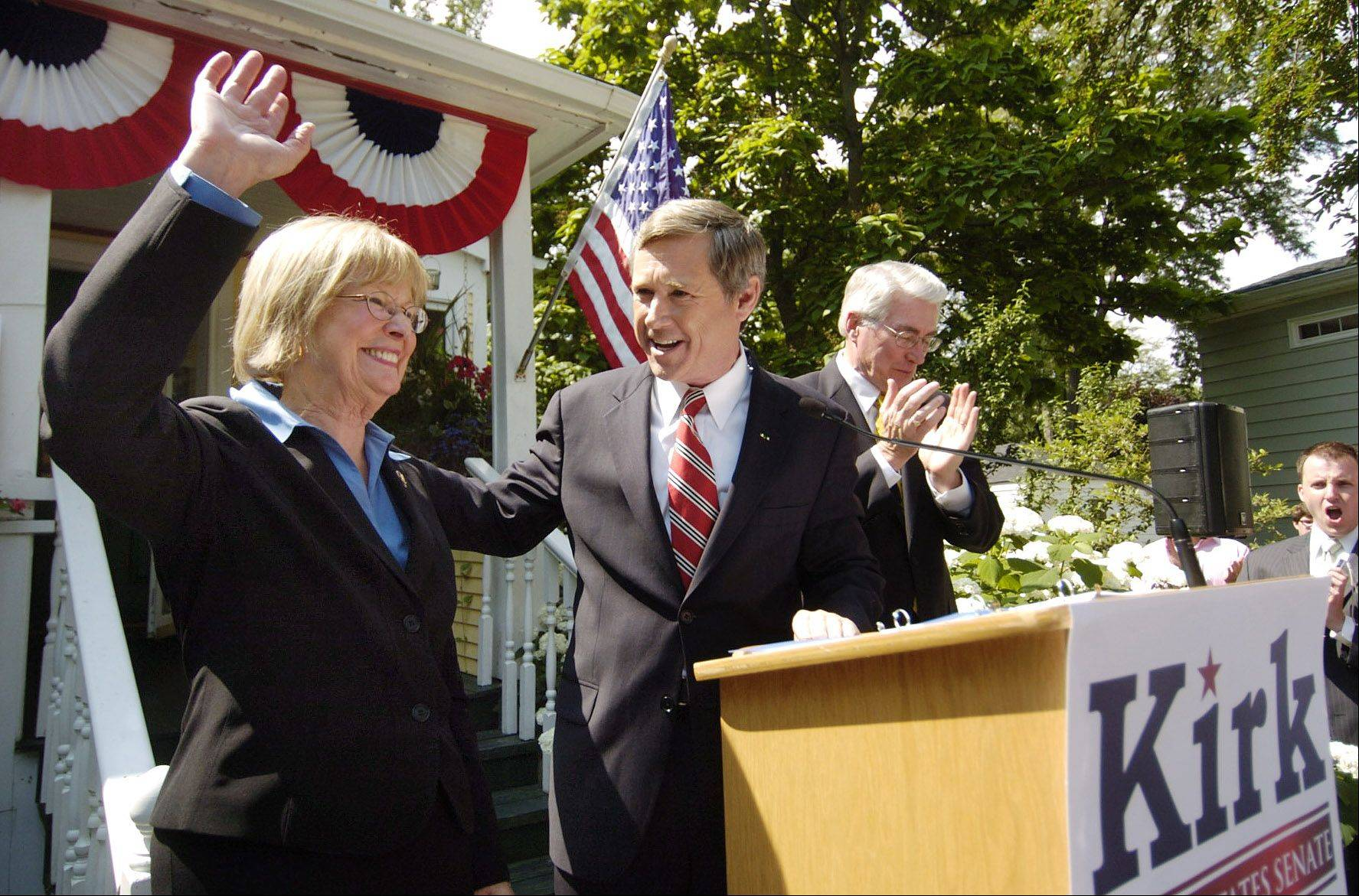 In this 2009 photo, then-Congressman Mark Kirk acknowledges Dupage Congresswoman Judy Biggert as one of his biggest supporters after announcing he is running for the U.S. Senate.