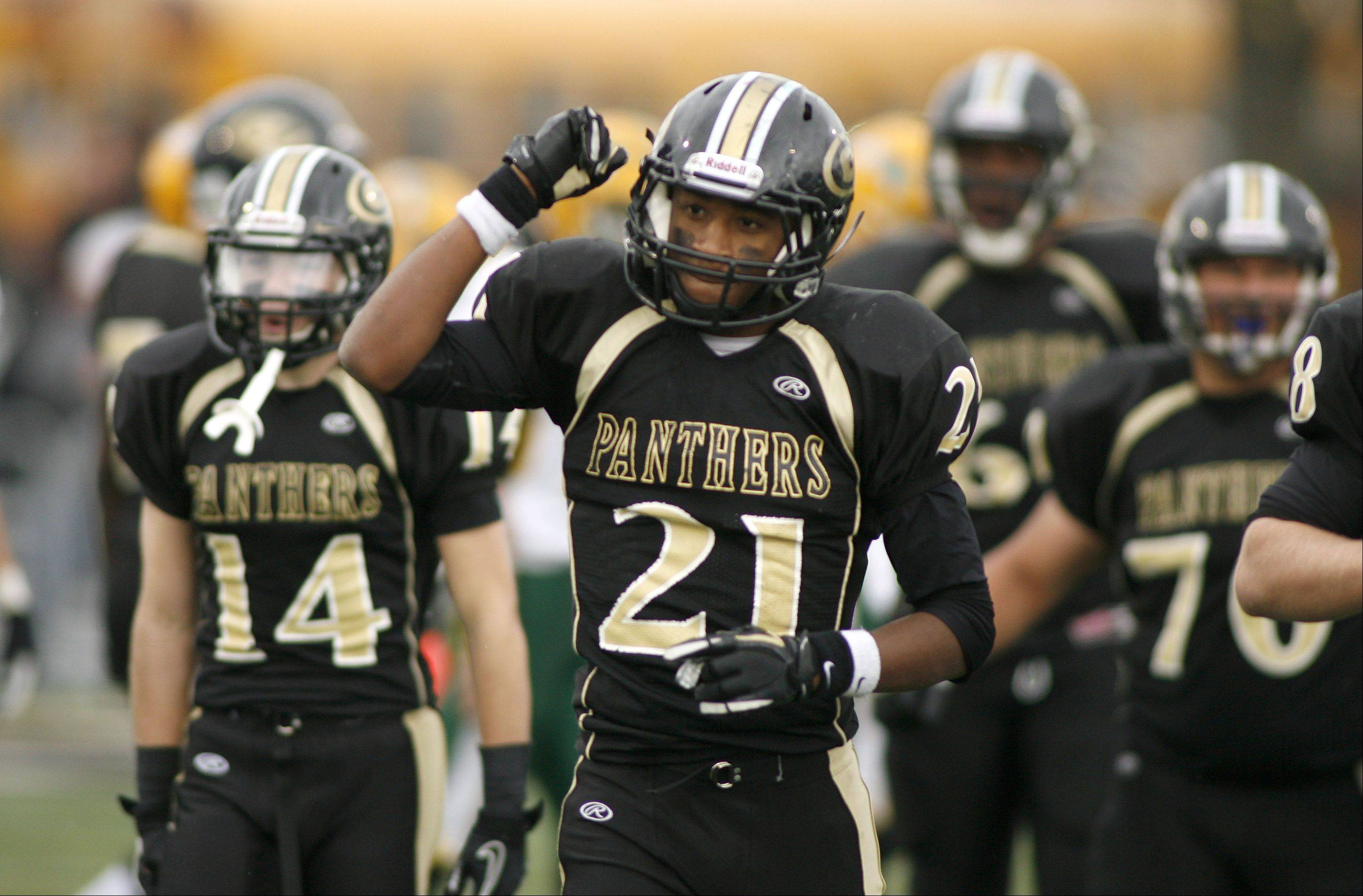 Glenbard North�s Justin Jackson celebrates a victory over Stevenson, during second round Class 8A football playoffs.