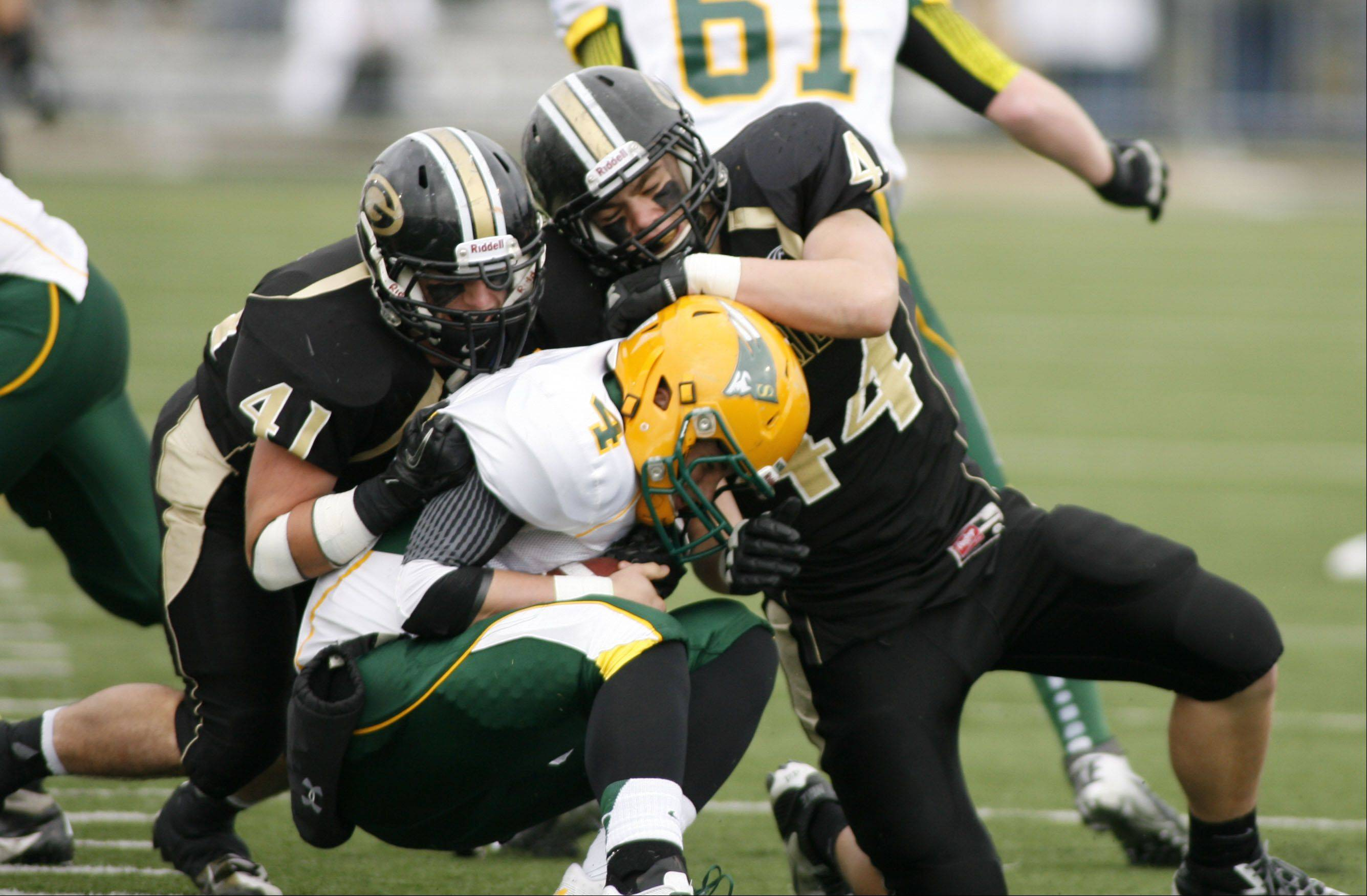 Glenbard North�s Dominic Fornino (41) and Andrew Mulshine (44) sack Stevenson quarterback Willie Bourbon during second-round Class 8A playoff action Saturday in Carol Stream.