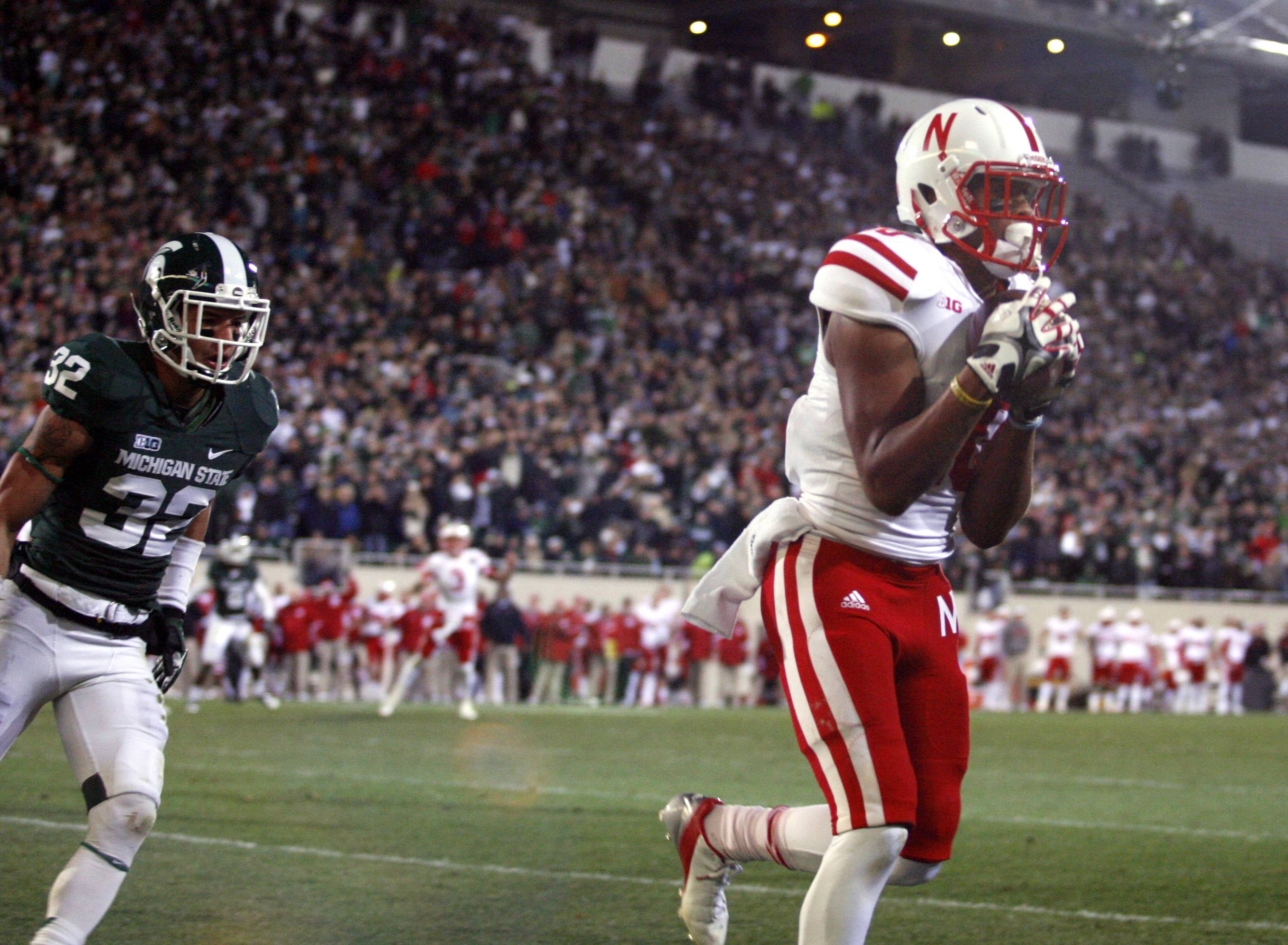 Nebraska receiver Jamal Turner catches the game-winning touchdown pass against Michigan State's Mitchell White with seconds remaining Saturday in the fourth quarter in East Lansing, Mich. Nebraska won 28-24.