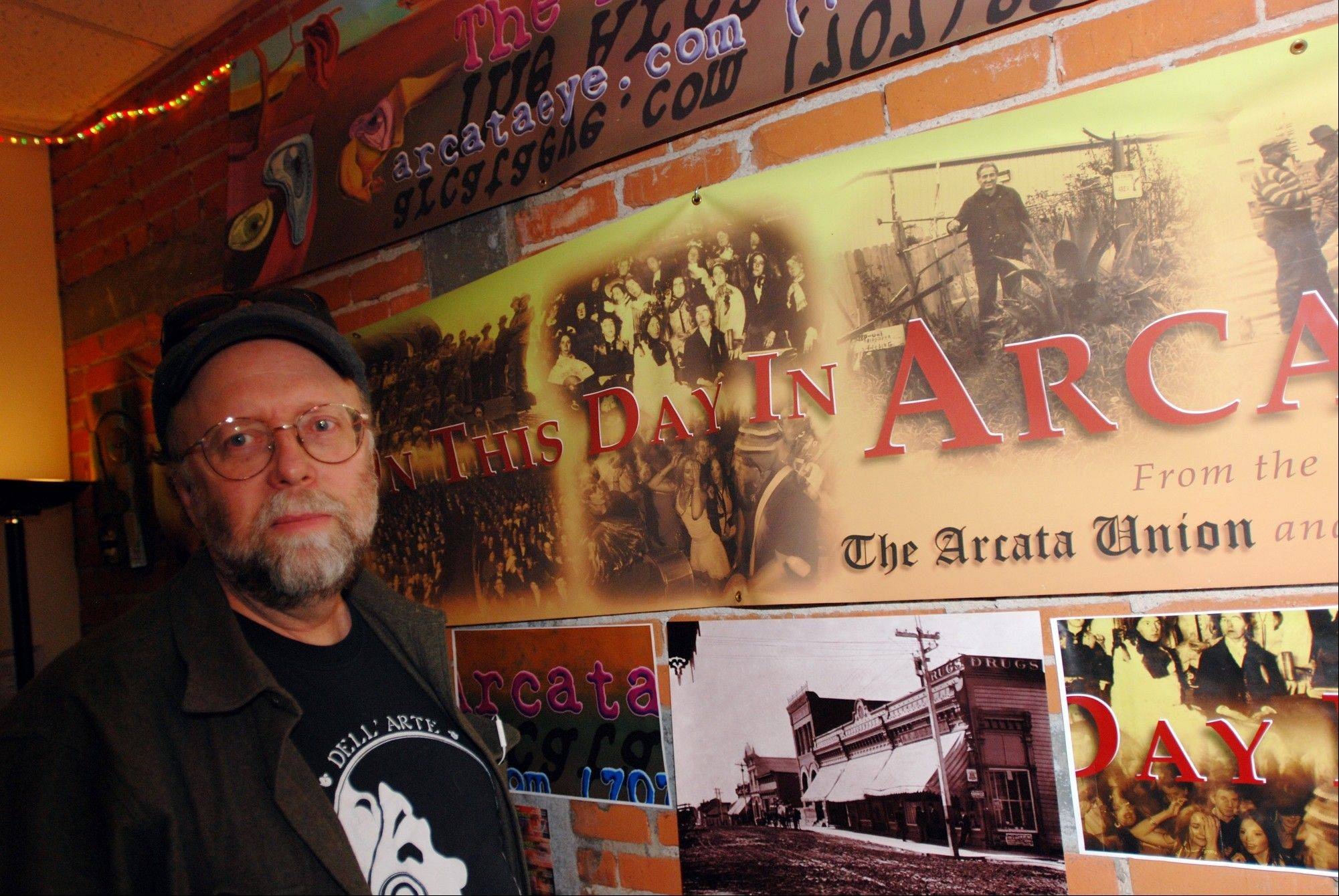 Kevin Hoover, editor of the Arcata Eye newspaper, in his office in Arcata, Calif. Hoover says the proliferation of industrial-level indoor marijuana growing operations has ruined neighborhoods.