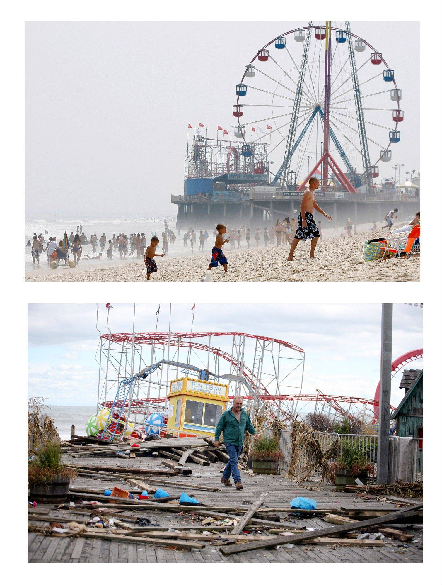 The Funtime Pier in Seaside Heights, N.J. is shown before and after superstorm Sandy made landfall on the Jersey Shore.