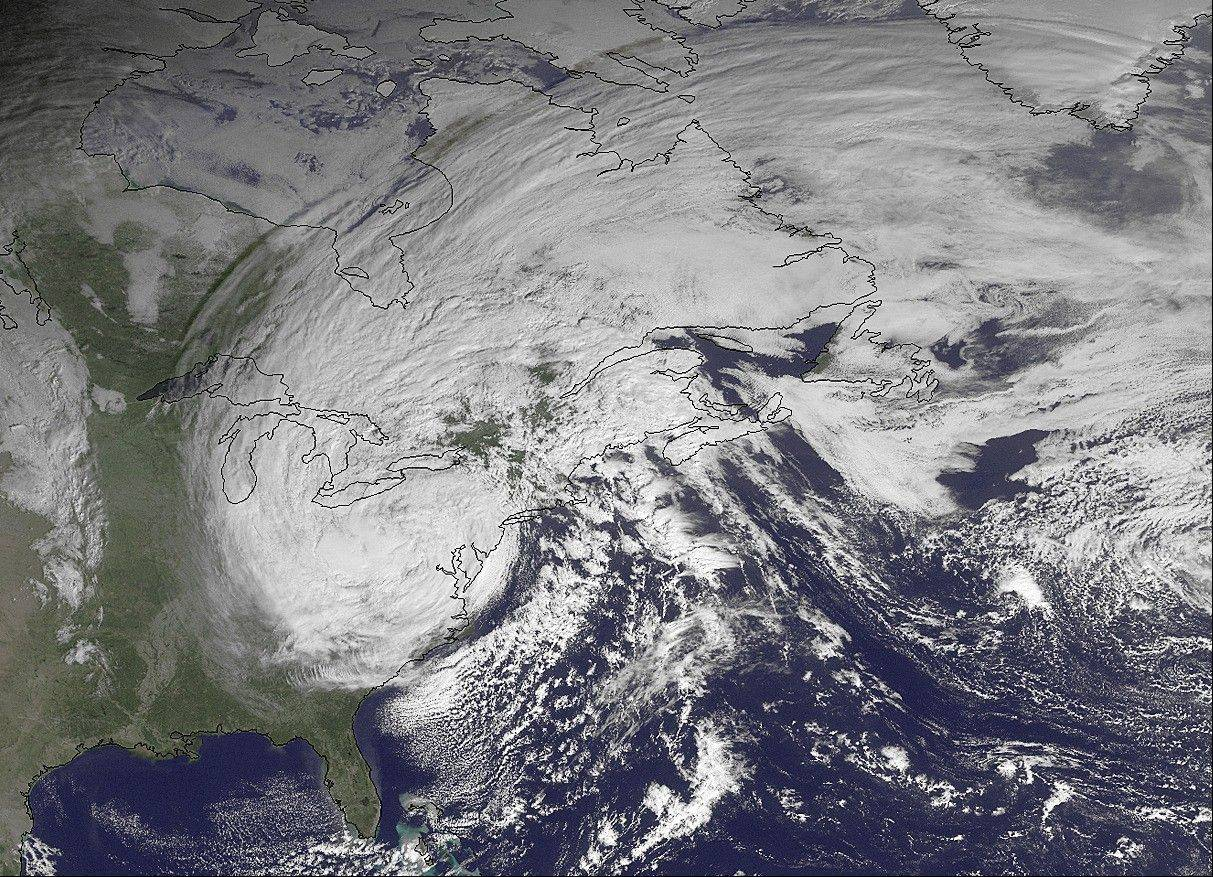 This NOAA satellite image taken Tuesday shows superstorm Sandy slowly moving westward while weakening across southern Pennsylvania. As people post updates to friends and family, relay emergency information and lighten the mood with humor, it's clear that discussing natural disasters on social media has become as much a part of the experience as stocking up on bread and batteries.