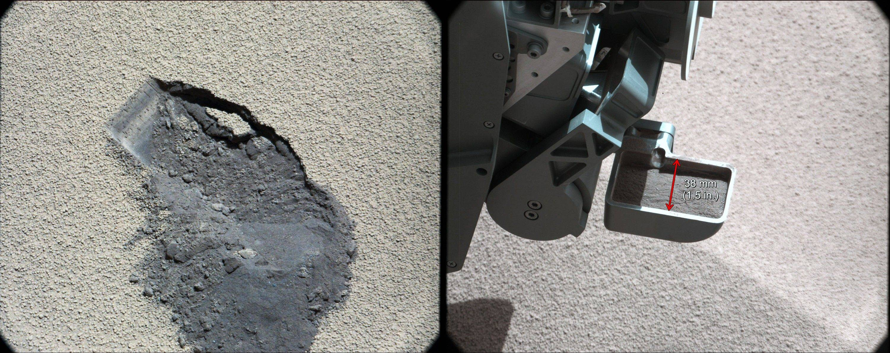 In this image released by NASA on Tuesday Oct. 30, 2012 shows a scoop of Martian soil collected by the NASA's Curiosity rover. An analysis of the soil released Tuesday reveals it contains similar minerals found on Hawaii's Mauna Kea. Curiosity landed on Mars in August on a two-year mission to study whether the environment was habitable.