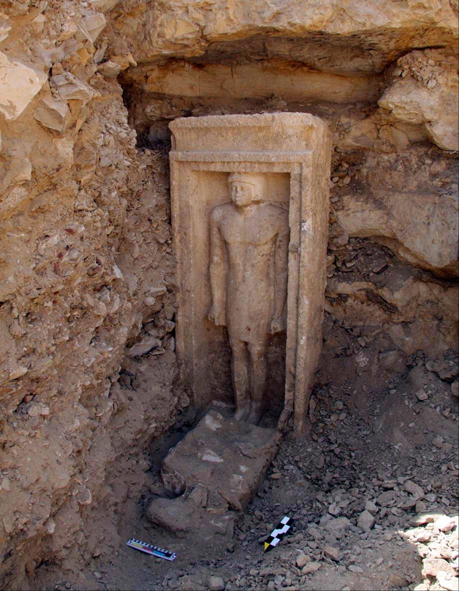 Associated PresssA recently discovered statue in a complex of tombs south of Cairo, Egypt.