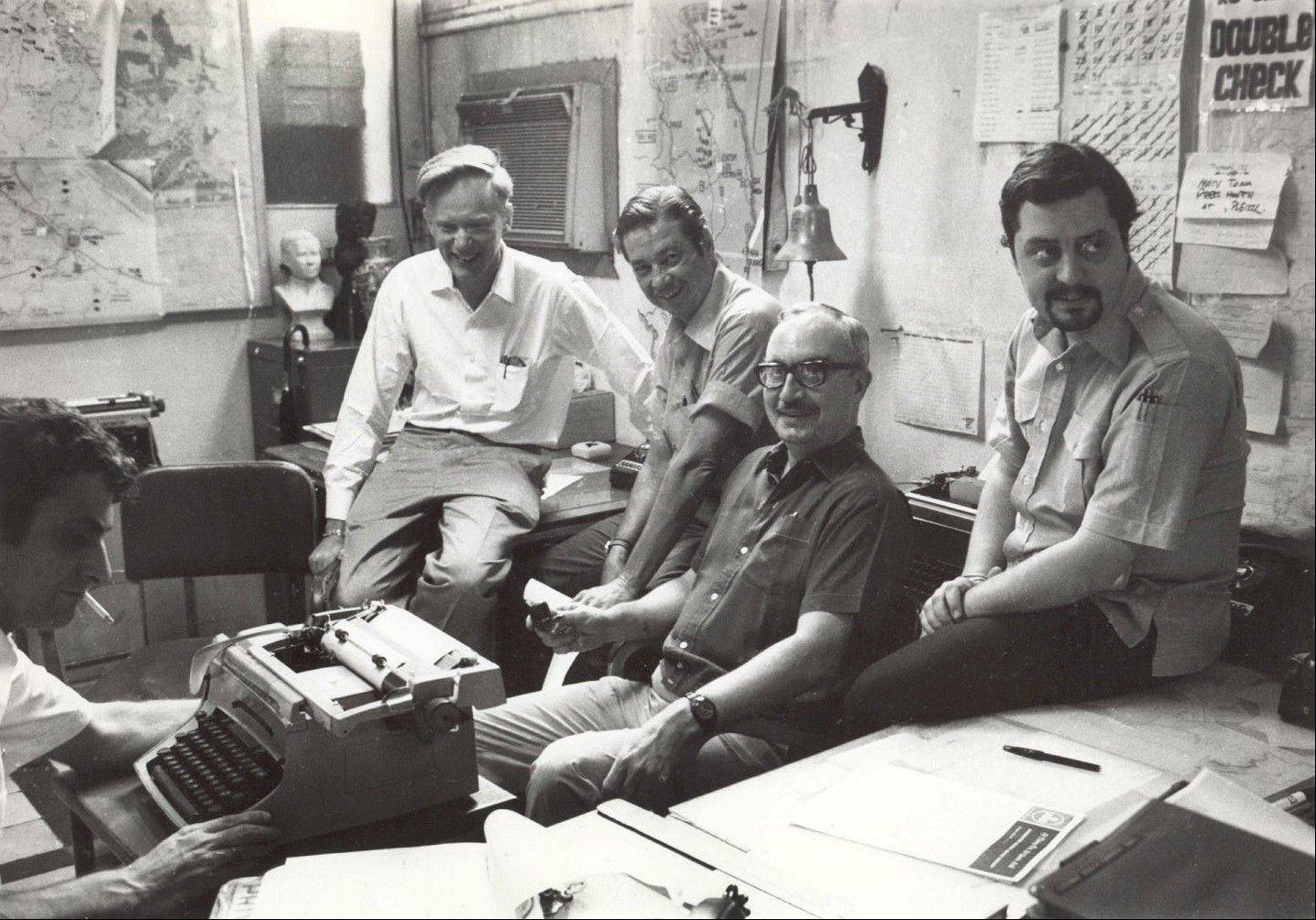 Once-and-future bureau cheifs at The Associated Press' Saigon bureau, from left, George Esper (1973-75), Malcolm Browne (1961-64), George McArthur (1968-69), Edwin Q. White (1965-67), and Richard Pyle (1970-73). White, a Saigon bureau chief for The Associated Press during the U.S. buildup in the Vietnam War, has died at age 90.