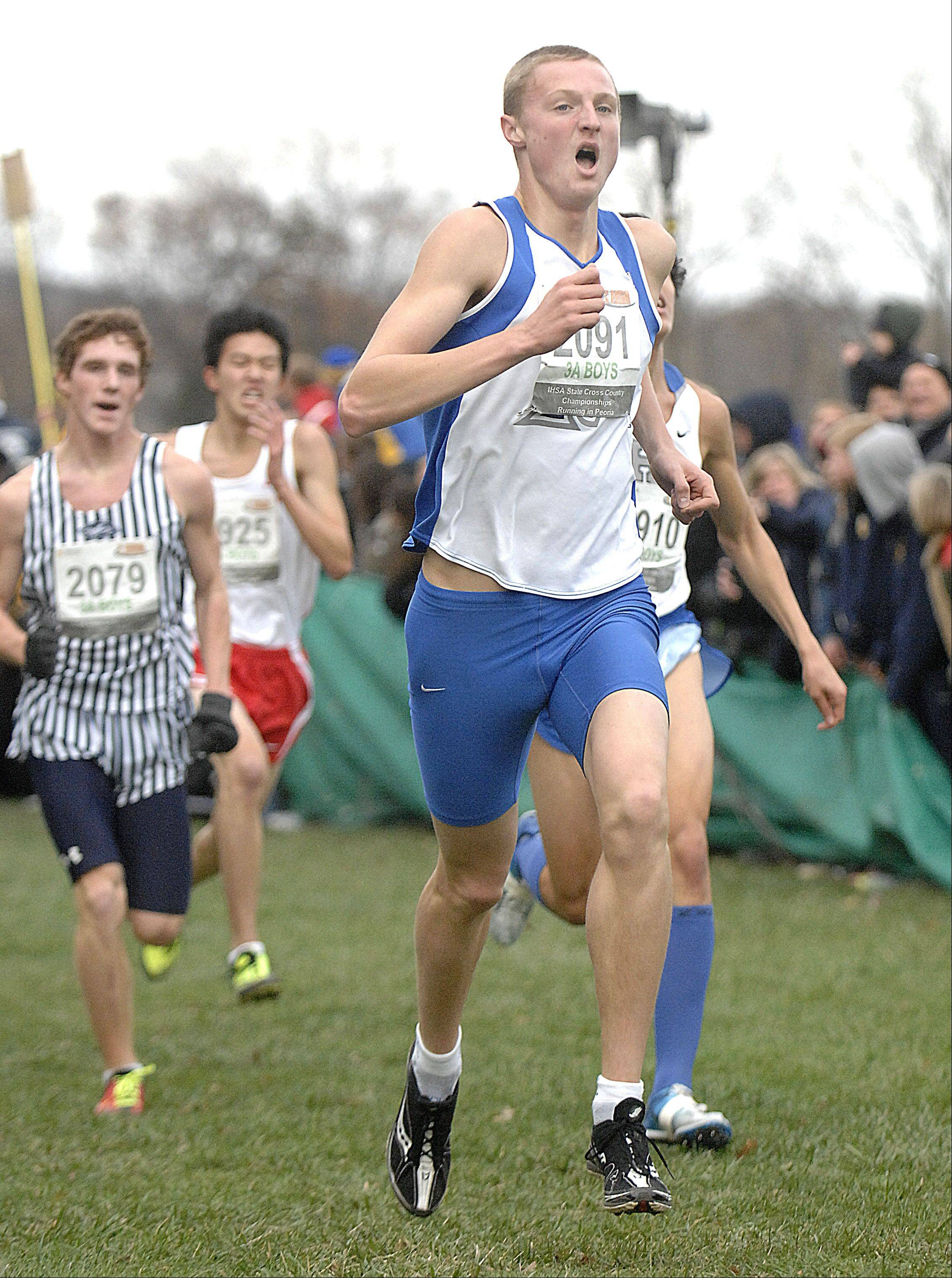 St. Charles North's Spencer Gray takes 45th place in the state cross country 3A final in Peoria on Saturday, November 3.