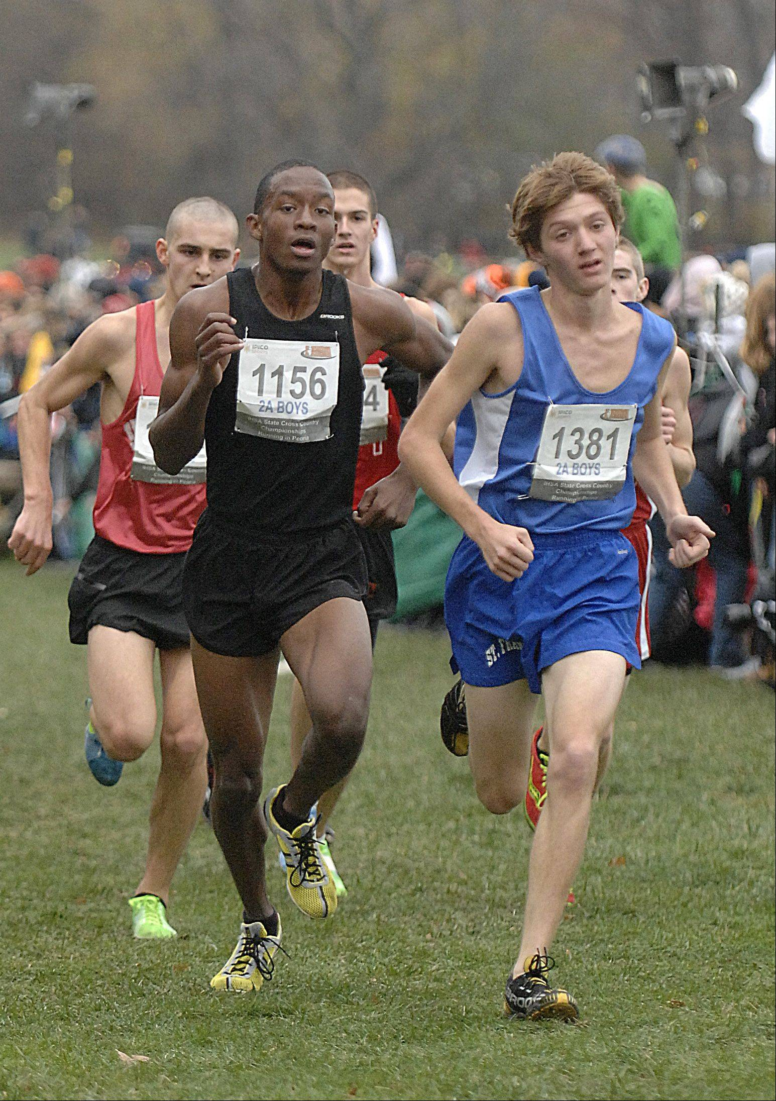 St. Francis' Andrew Hallet (1381)approaches the finish line in the state cross country 2A final in Peoria on Saturday, November 3. Carbondale's James Douglas on left.