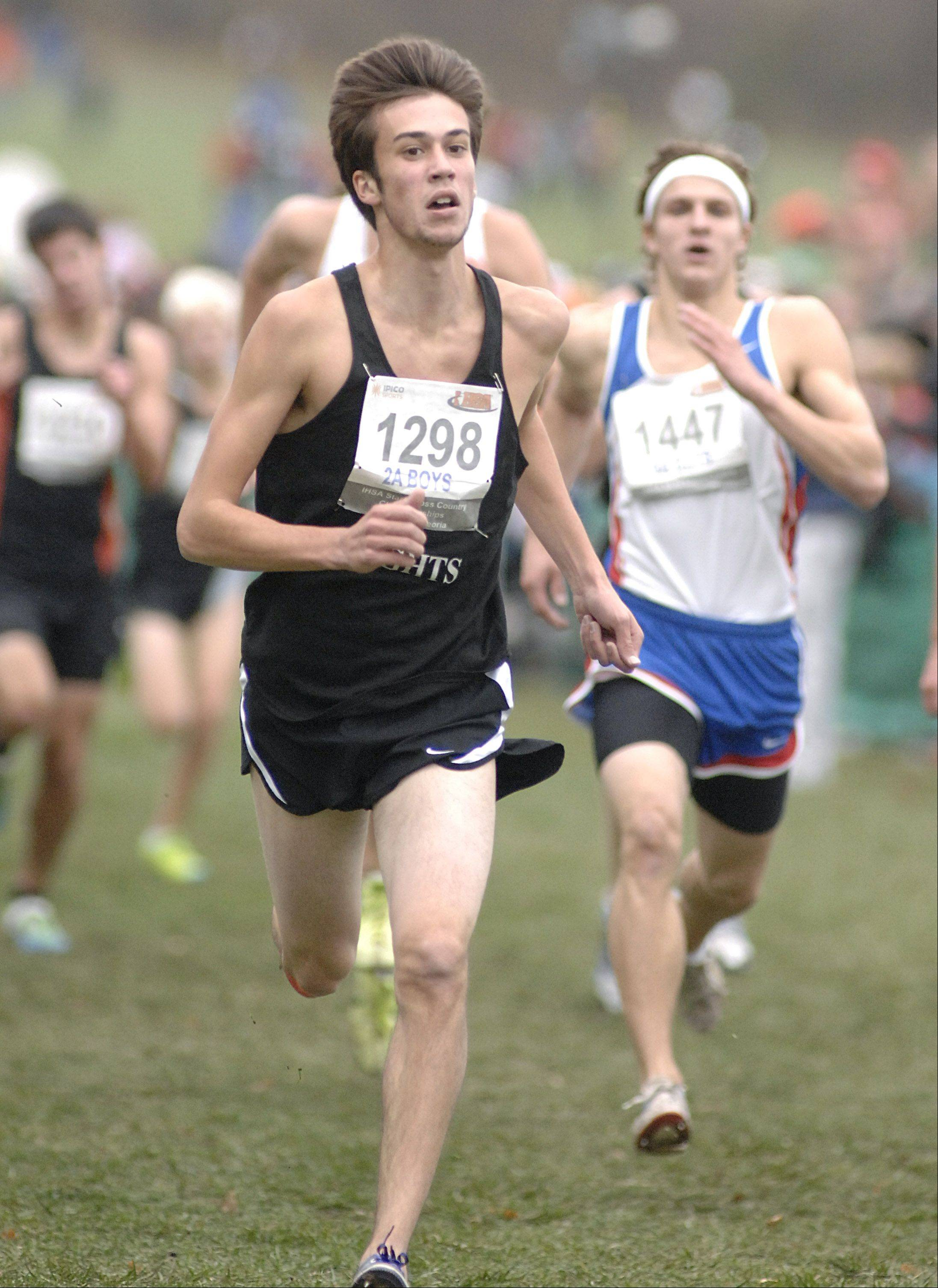 Kaneland's Conor Johnson nears the finish line in the state cross country 2A final in Peoria to take 36th place on Saturday, November 3. Johnson placed 36th.