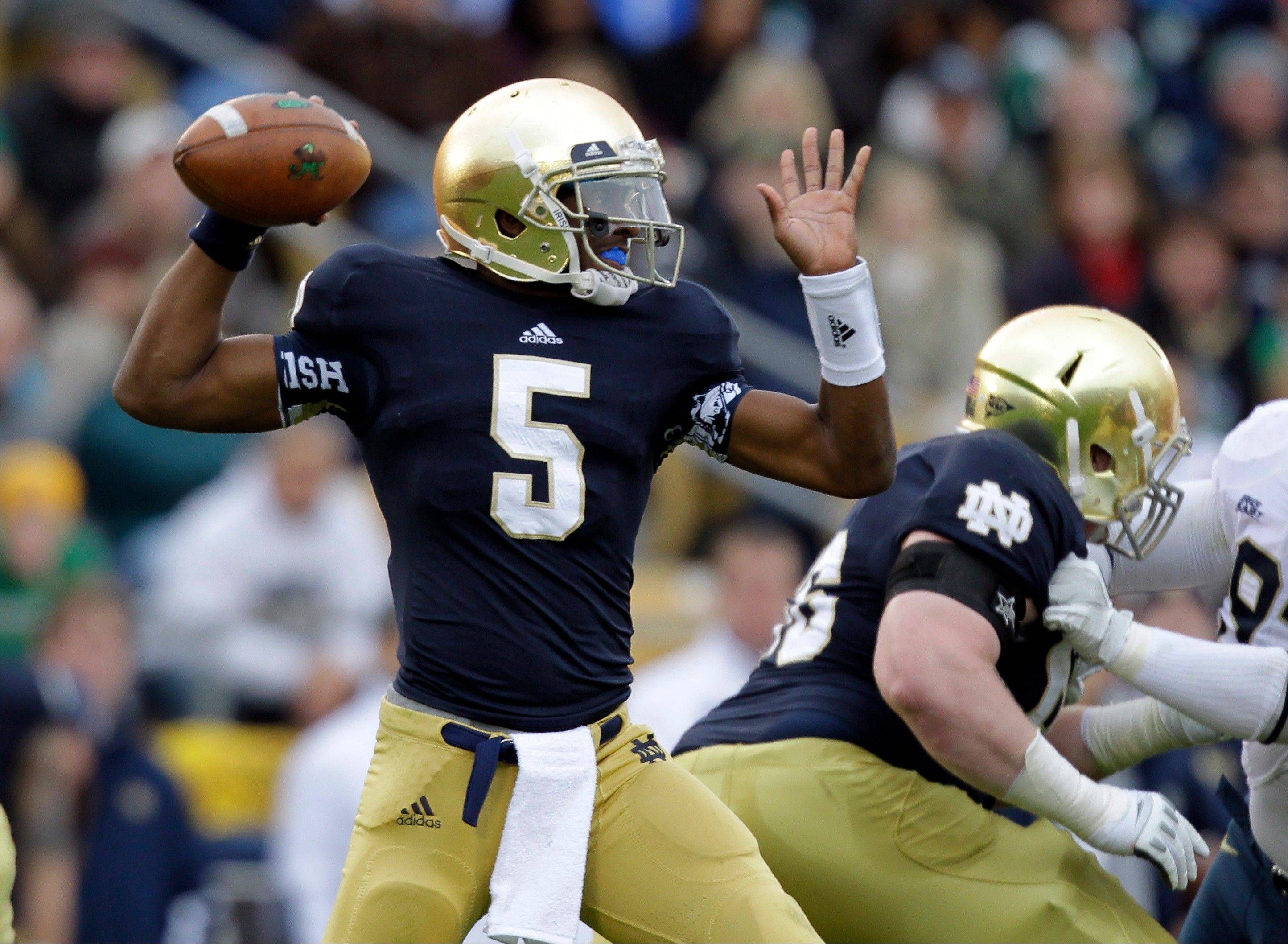Notre Dame quarterback Everett Golson throws against Pittsburgh Saturday during the first half in South Bend, Ind.
