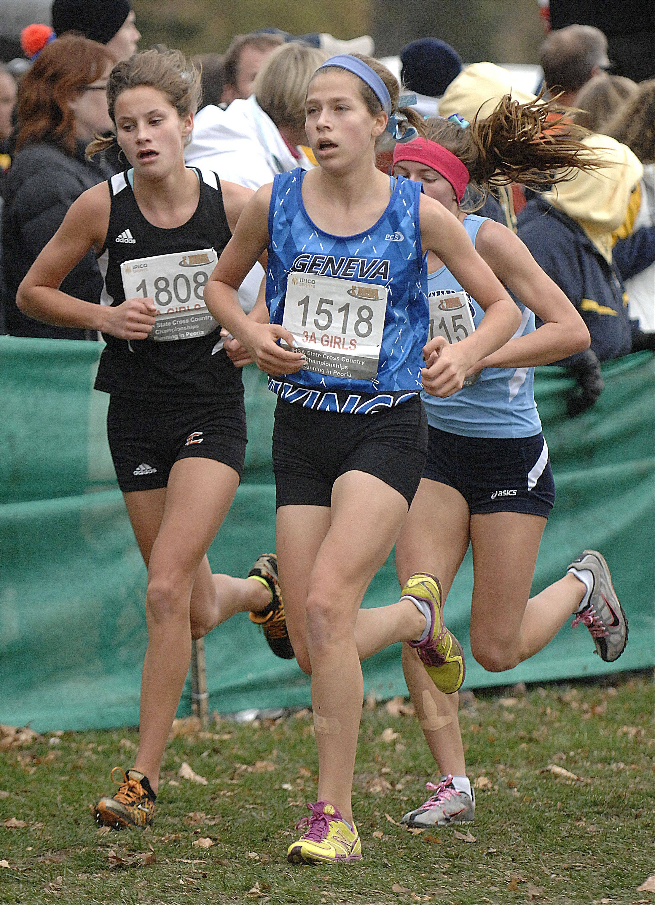 Geneva's McKenzie Altmayer in the state cross country 3A final in Peoria on Saturday, November 3.