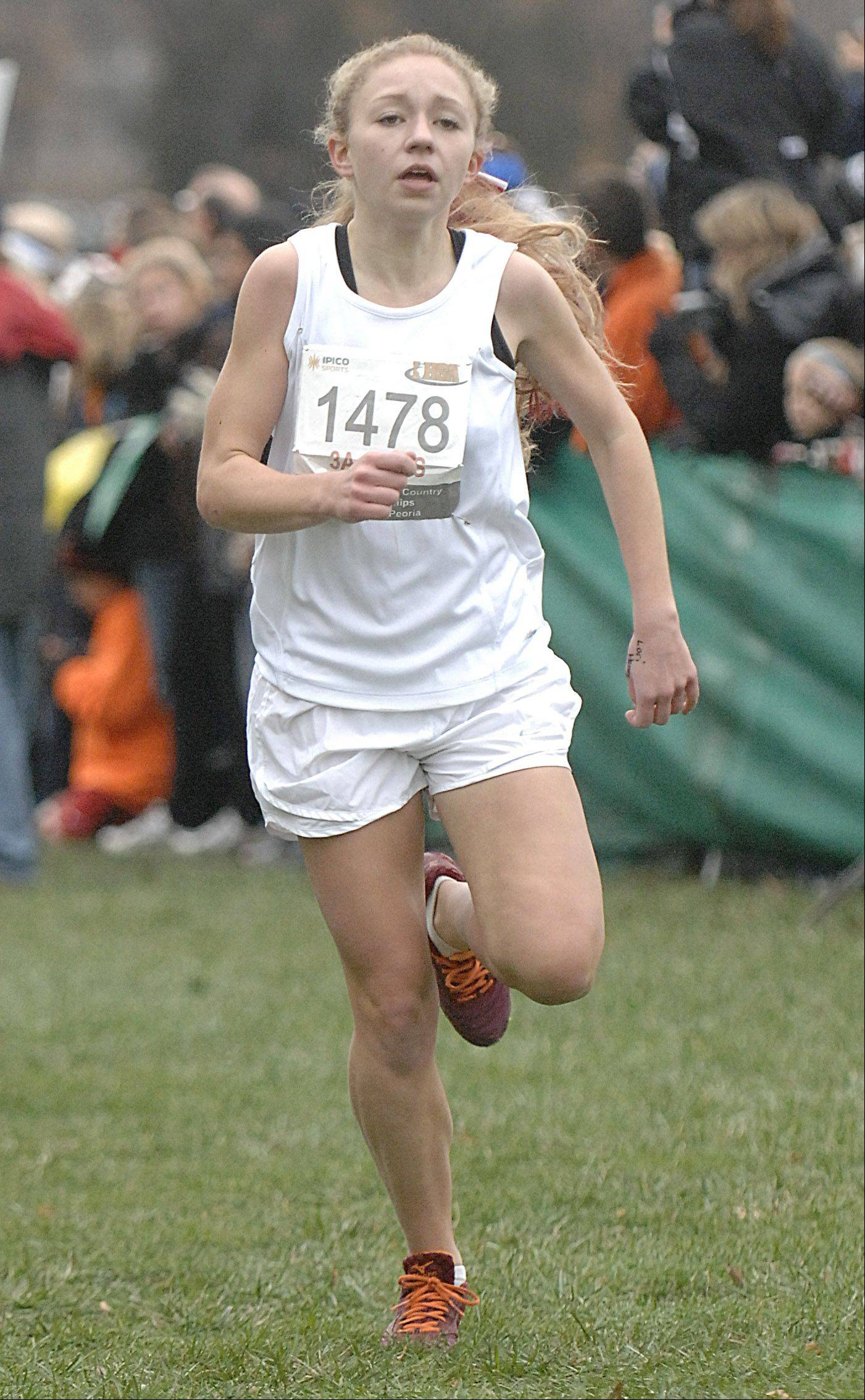Barrington's Caroline Reynolds approaches the finish line in the state cross country 3A final in Peoria to take 30th place on Saturday, November 3.