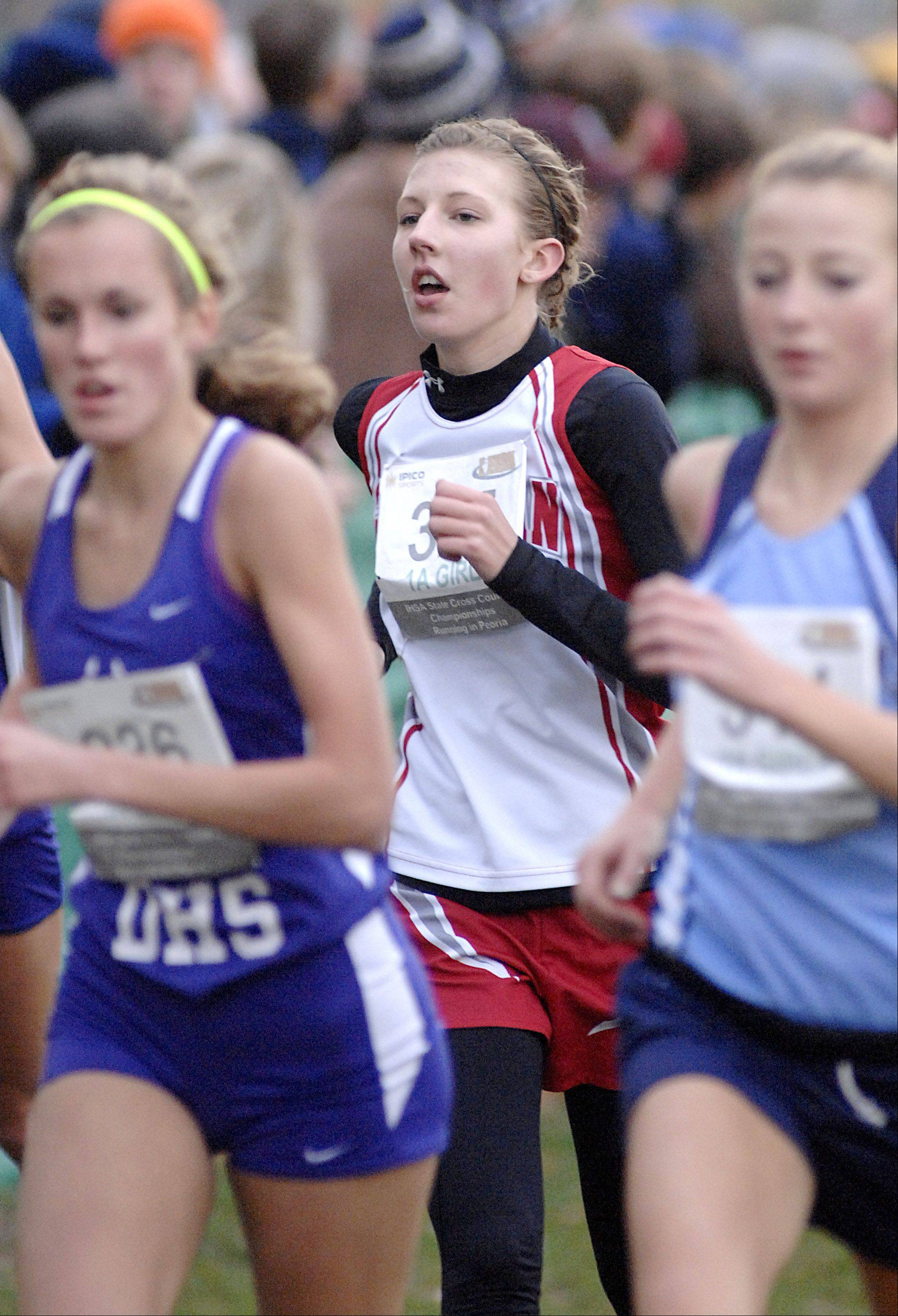 Aurora Christian's Rebecca Wert in the in the state cross country 1A final in Peoria on Saturday, November 3. Wert placed 71st.