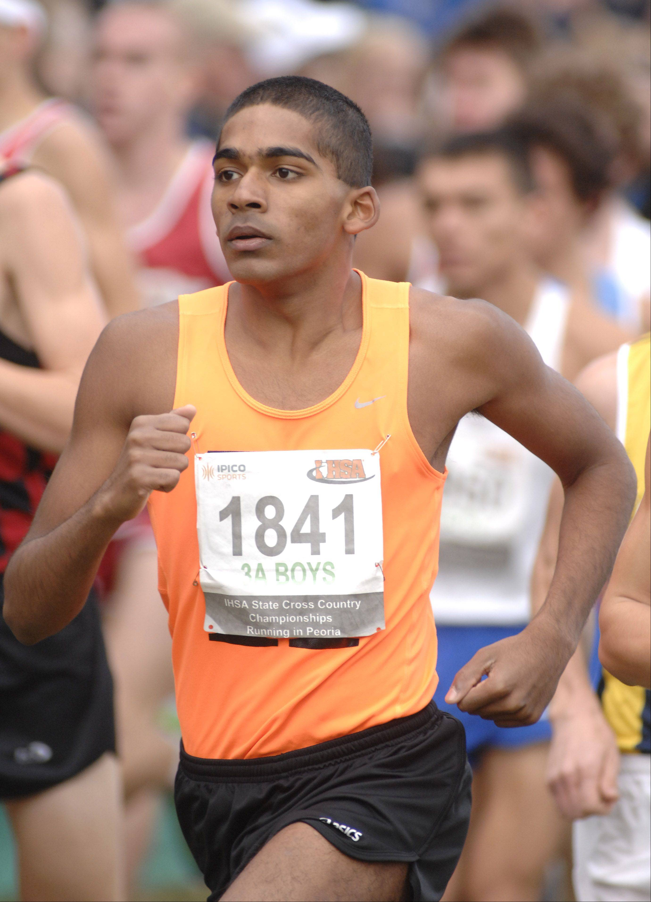 Hersey's Andy Philipose in the state cross country 3A final in Peoria on Saturday, November 3.