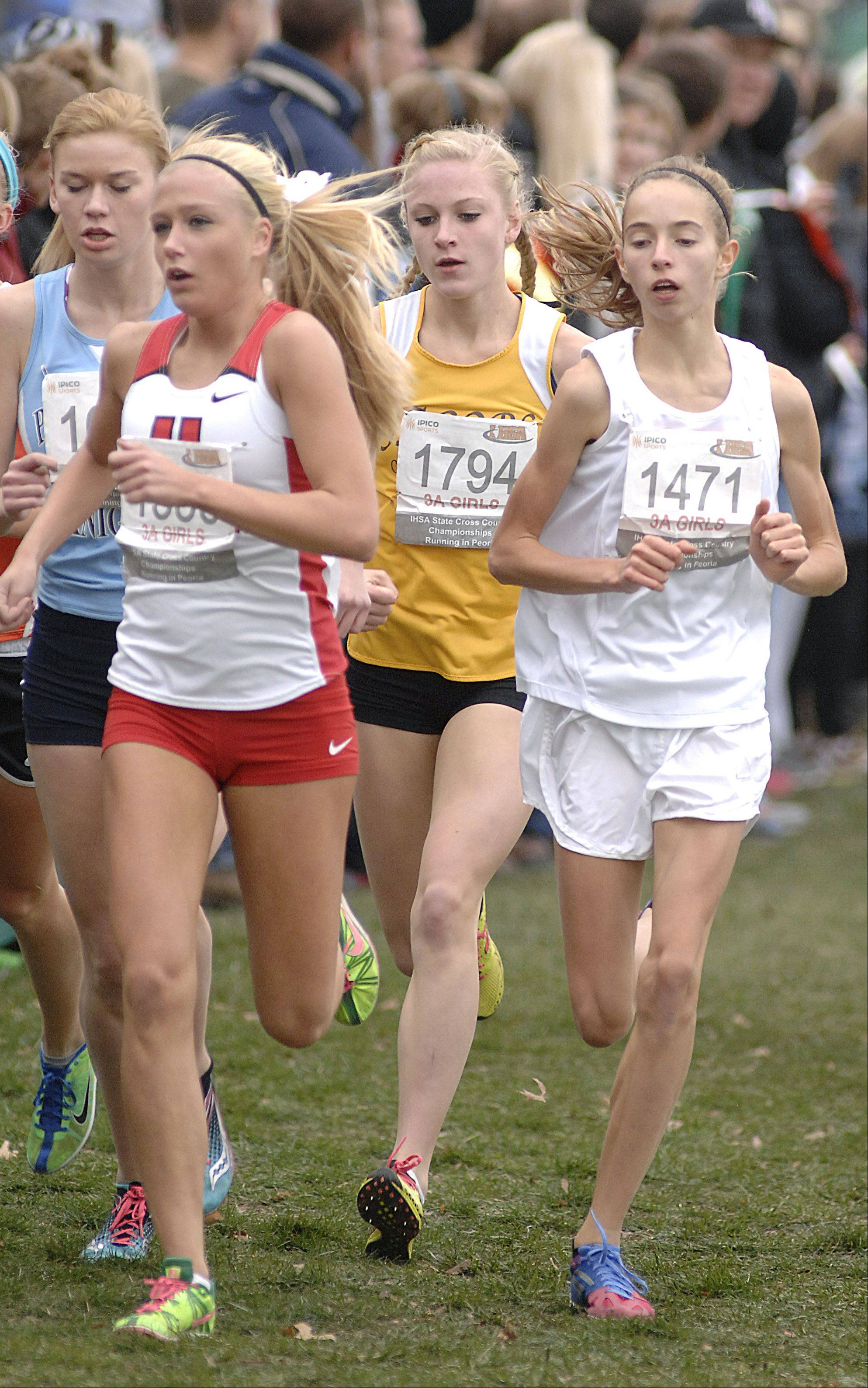 Jacobs' Lauren Van Vlierberge (1794) runs in the pack in the state cross country 3A final in Peoria on Saturday, November 3.