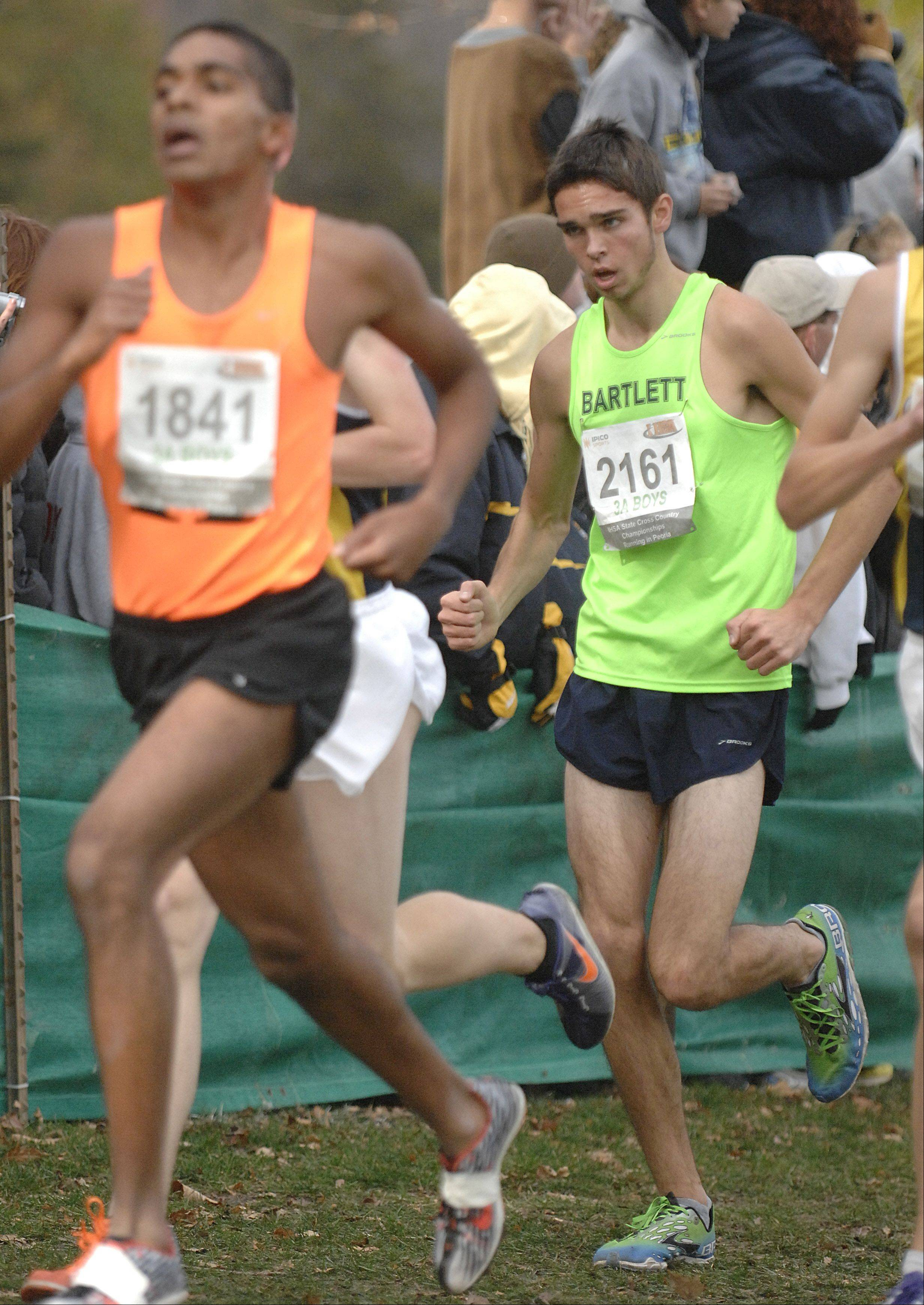 Bartlett's Connor Rachford in the state cross country 3A final in Peoria on Saturday, November 3.