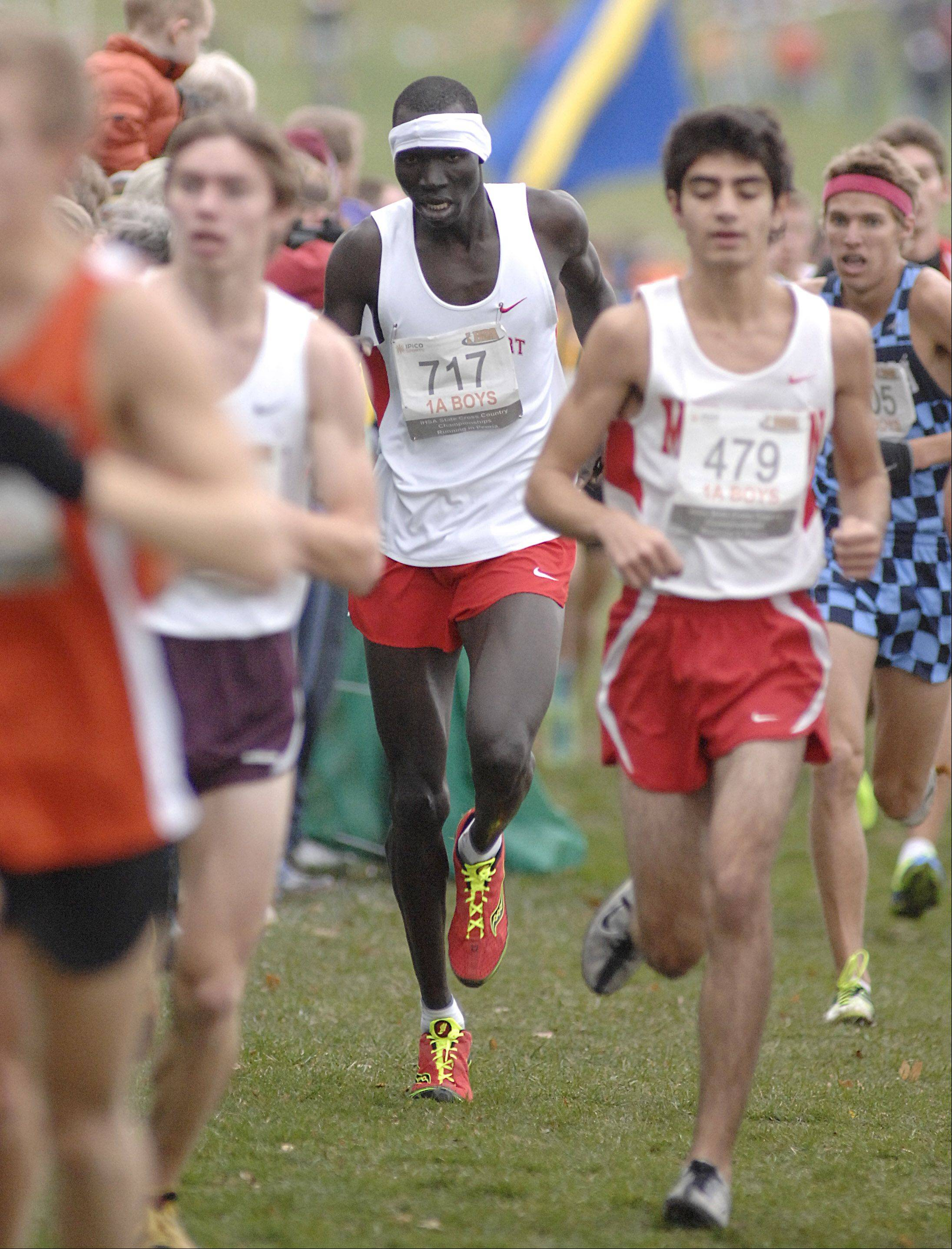 Mooseheart's Wal Khat in the in the state cross country 1A final in Peoria on Saturday, November 3. Khat took 24th place.