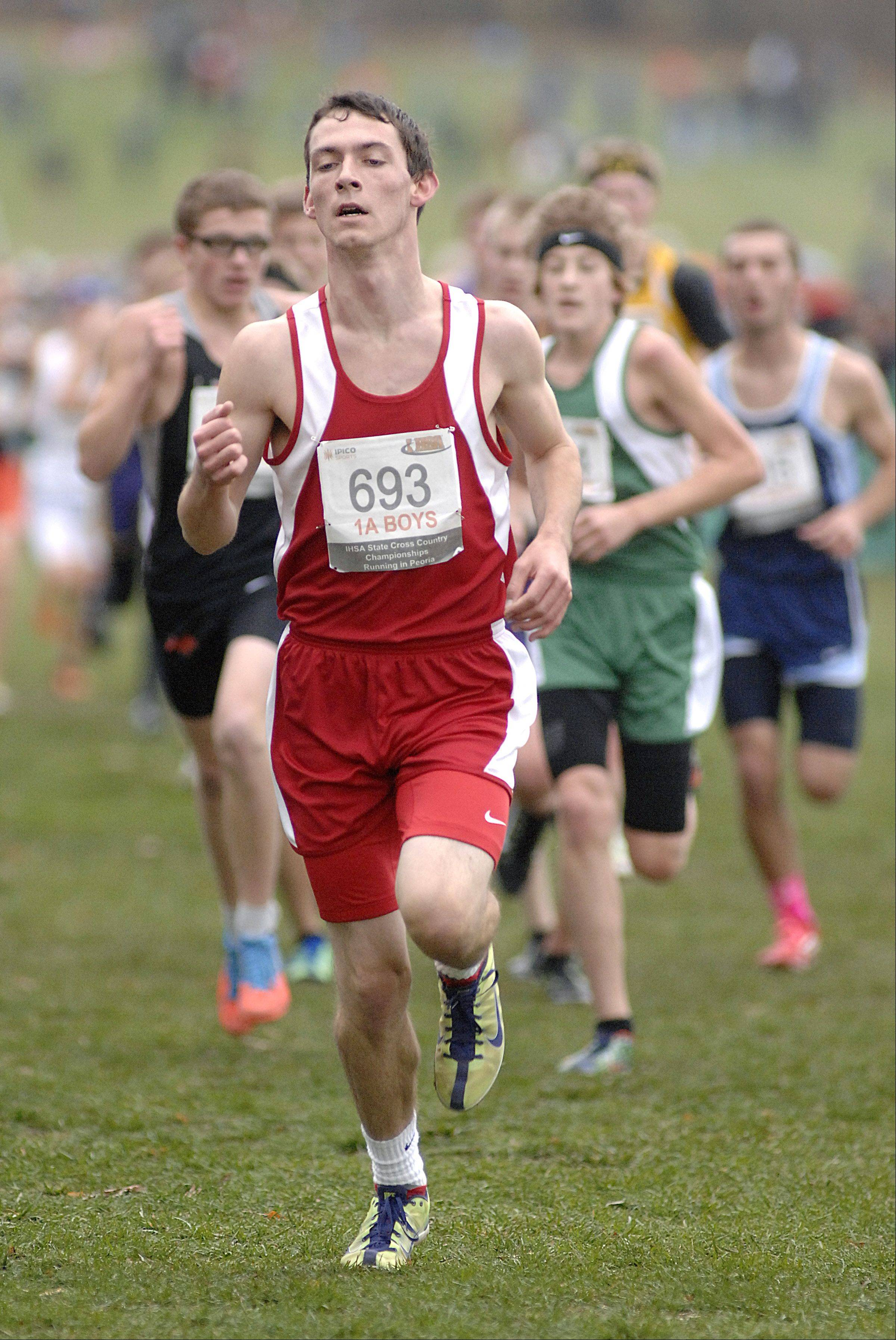 Aurora Christian's Jake Gehman in the in the state cross country 1A final in Peoria on Saturday, November 3. Gehman took 96th place.
