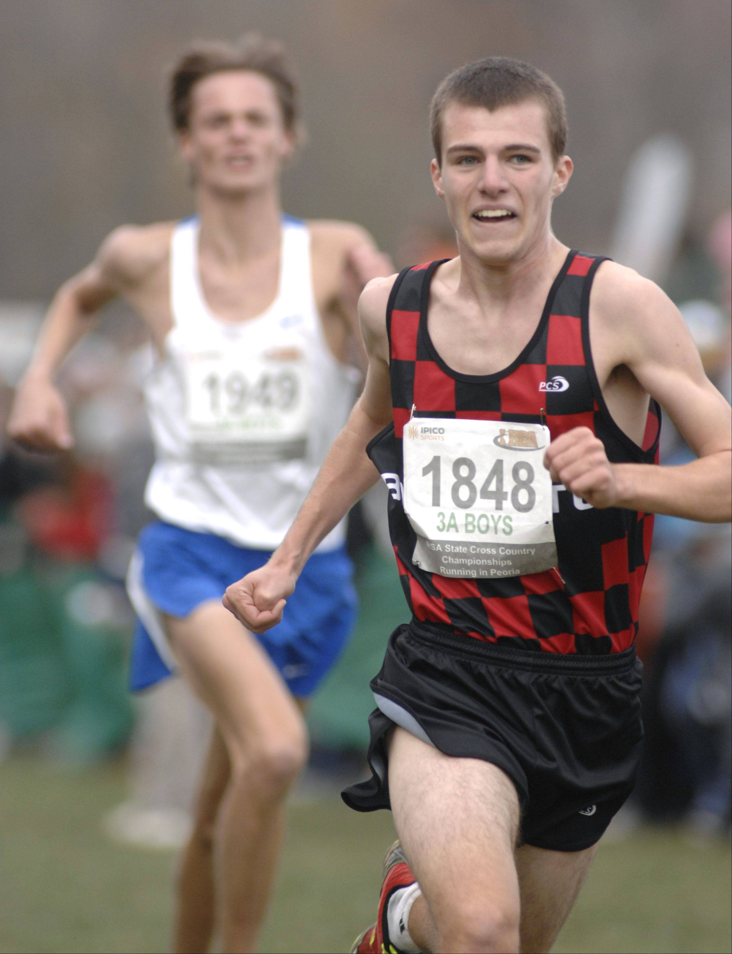 Barrington's Ryan Burgoon approaches the finish line in the state cross country 3A final and takes 12th place in Peoria on Saturday, November 3.