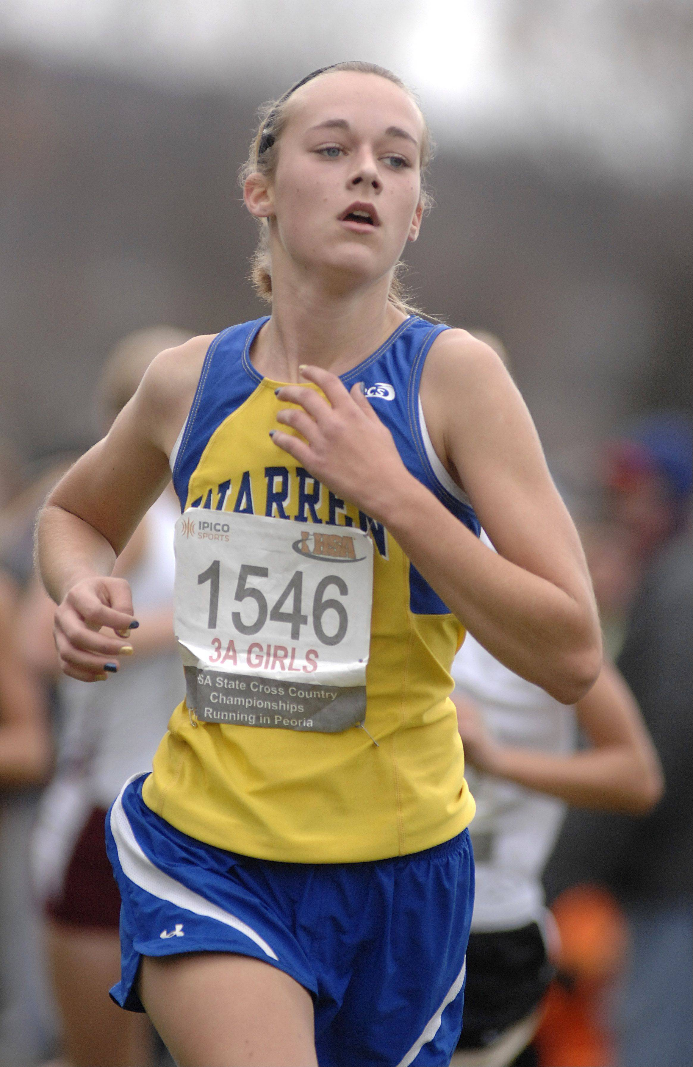 Warren's Michelle Klimt in the state cross country 3A final in Peoria on Saturday, November 3.