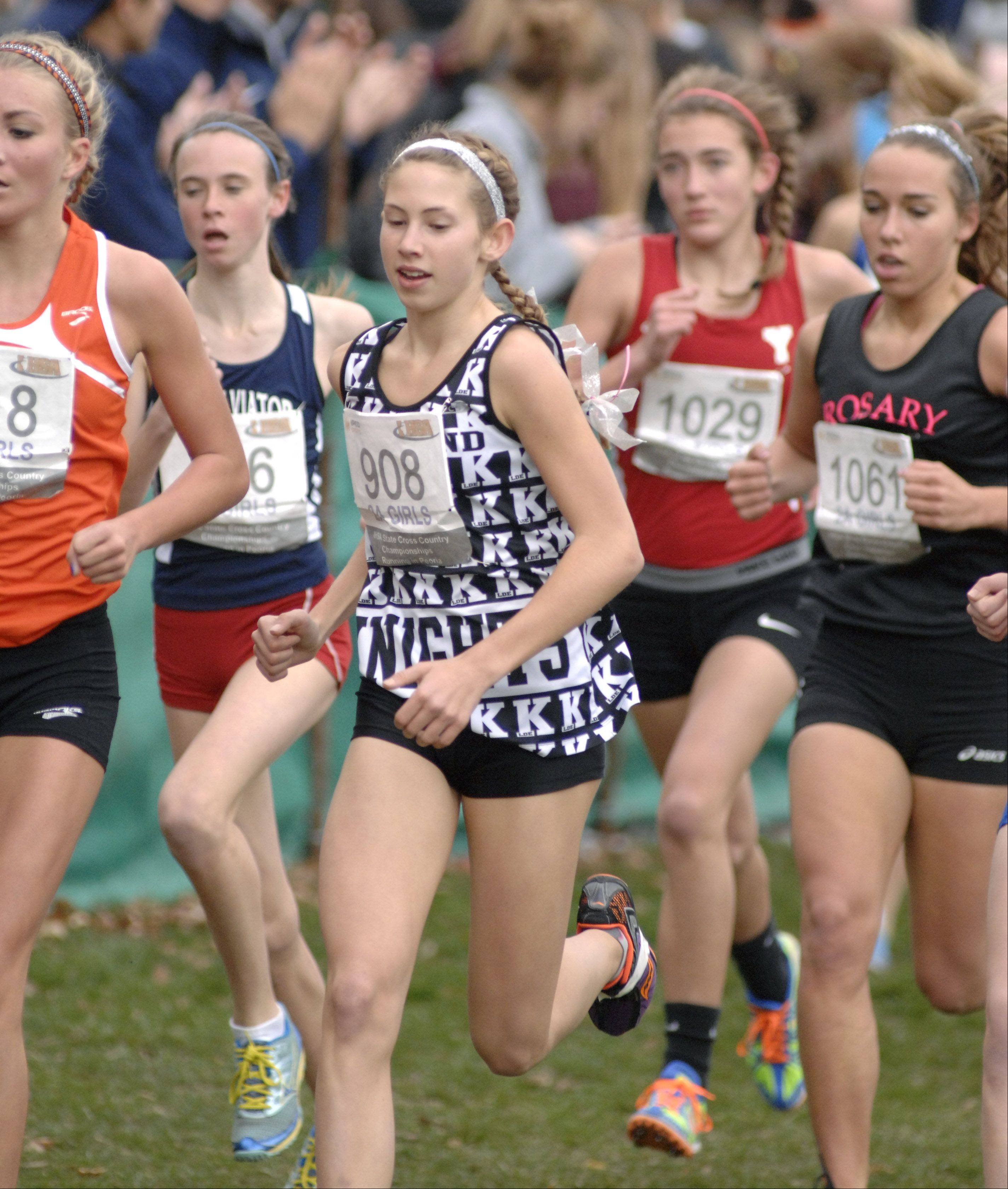 Kaneland's Victoria Clinton in the state cross country 2A final in Peoria on Saturday, November 3.