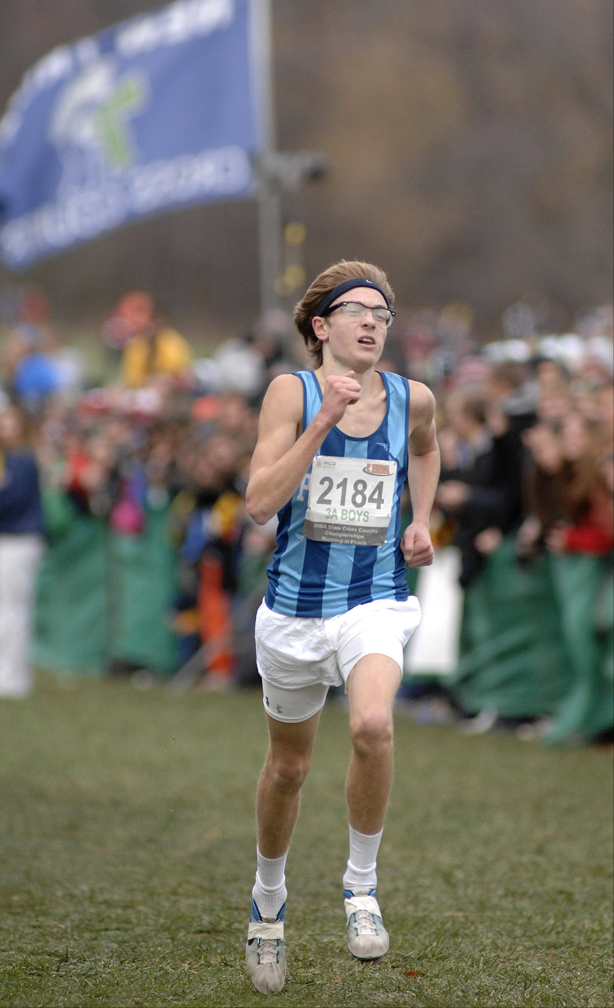 Prospect's Quentin Shaffer approaches the finish line in the state cross country 3A final in Peoria and takes second place on Saturday, November 3.