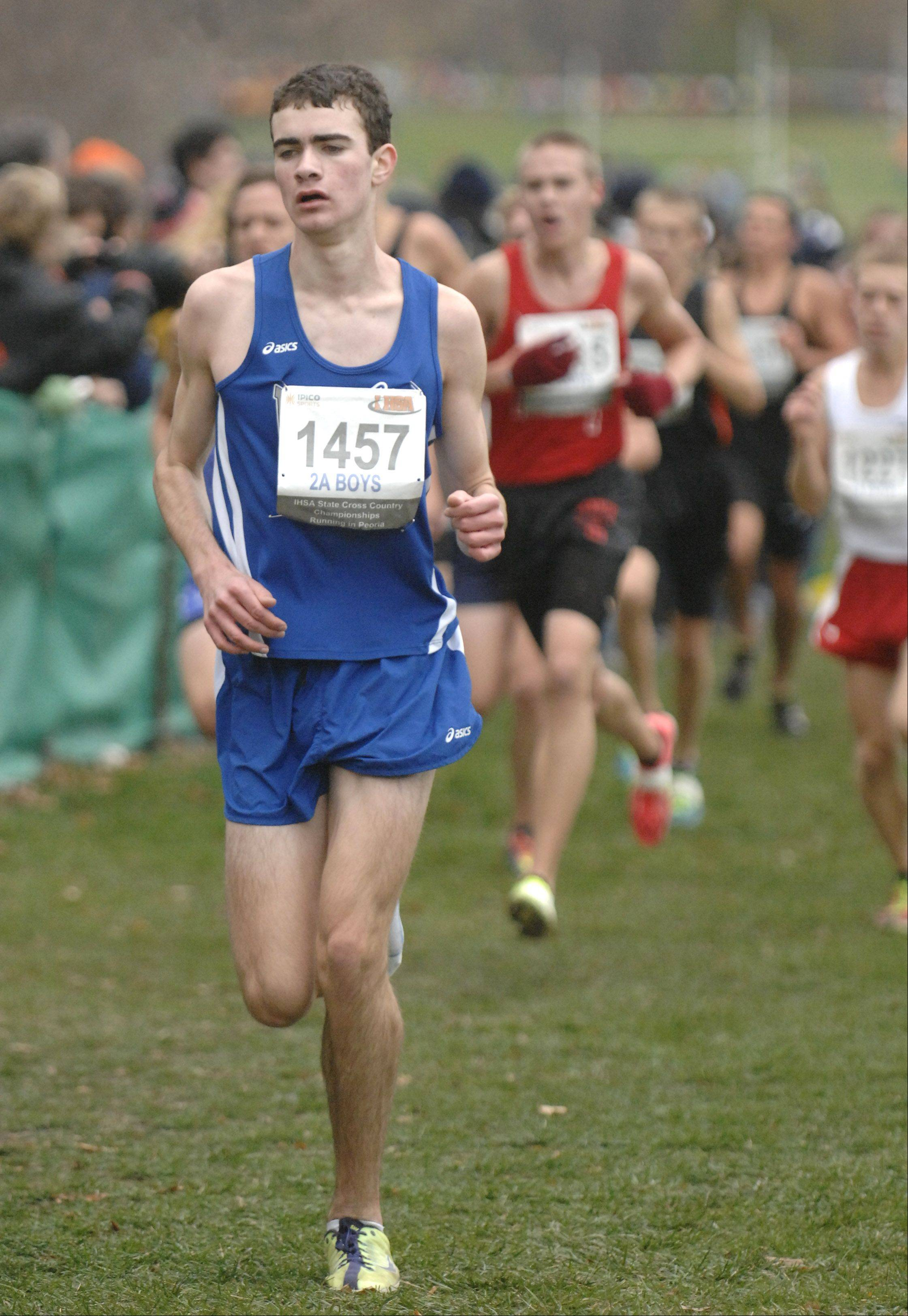 Vernon Hills' Ben Mohrdieck in the state cross country 2A final in Peoria on Saturday, November 3.