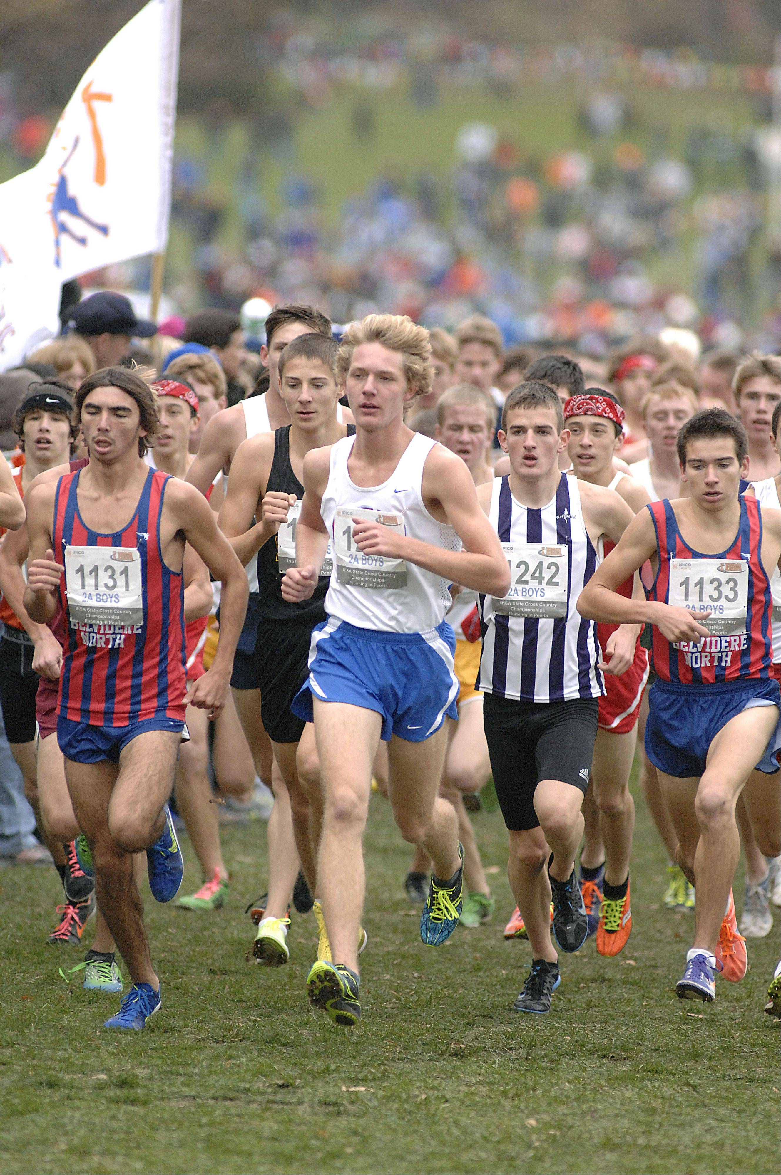 Glenbard South's John Wold, center, leads the pack in the state cross country 2A final in Peoria on Saturday, November 3.