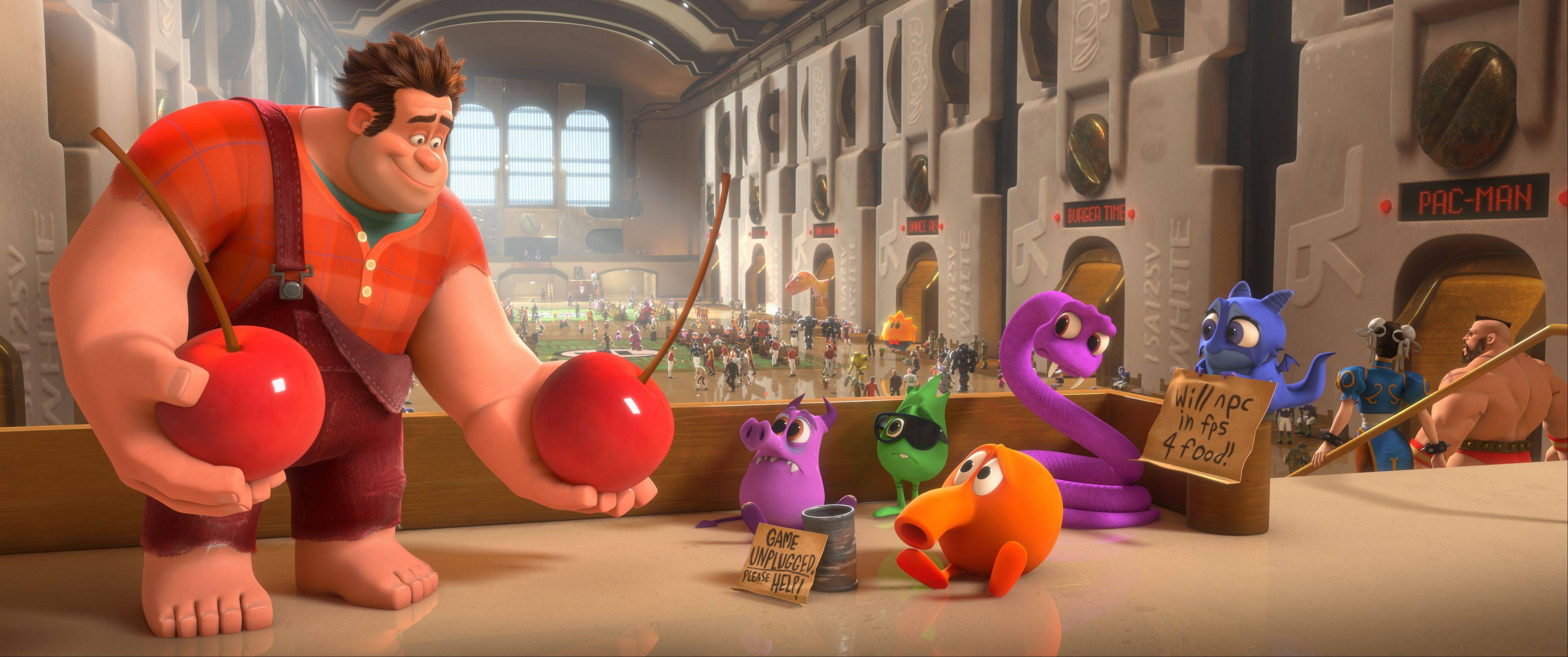 "Ralph the villainous destructor (John C. Reilly) offers up some fruity concessions in Walt Disney's 3-D animated comedy ""Wreck-It Ralph."""