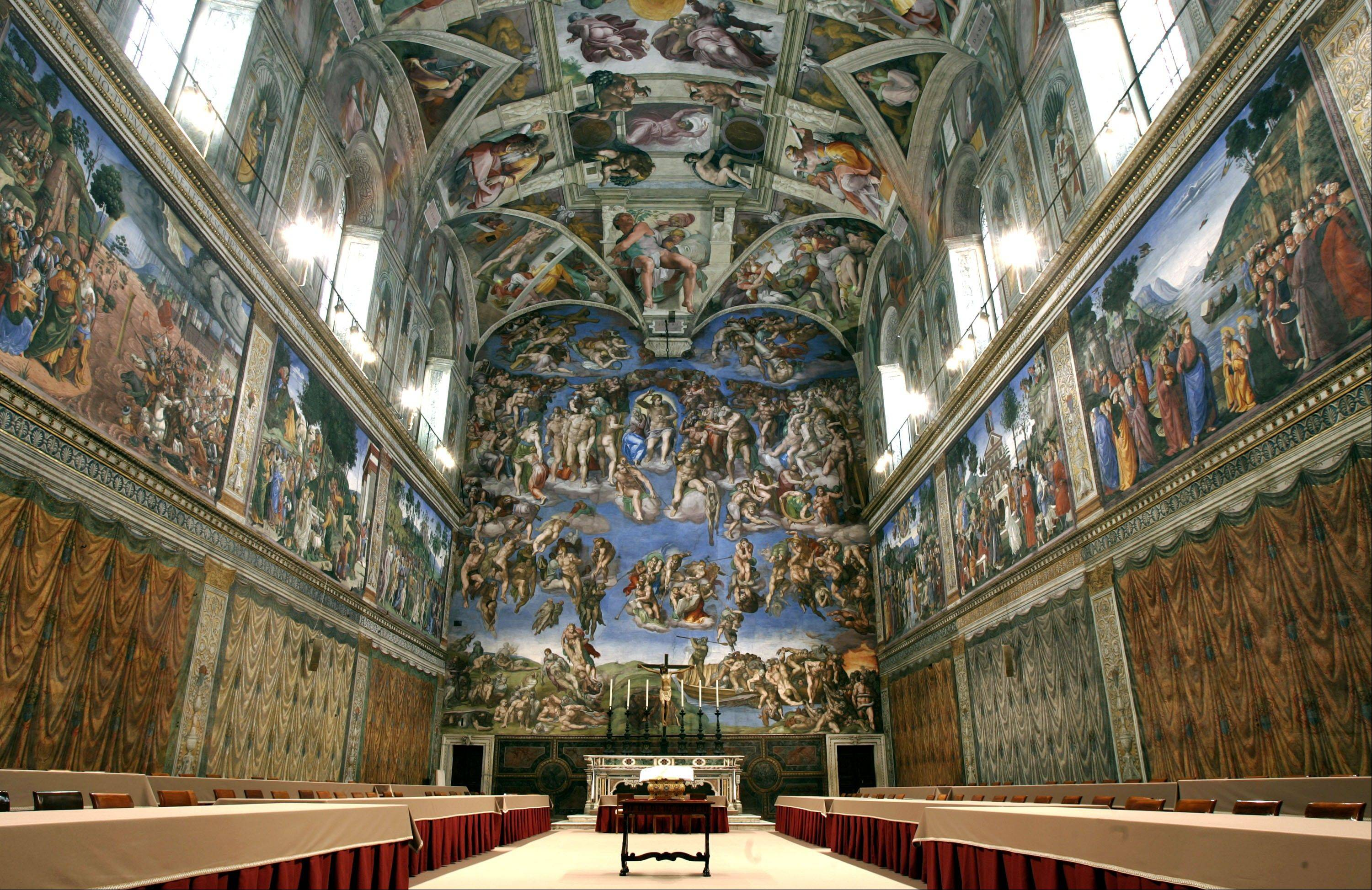In this April 16, 2005, file photo, tables and chairs line the Sistine Chapel at the Vatican in preparation for the conclave. Five centuries after Michelangelo's ceiling frescoes were inaugurated at the Sistine Chapel, at least 10,000 people visit the site each day, raising concerns about temperature, dust and humidity affecting the famed art. But a Vatican Museums official said in the Vatican newspaper Wednesday, Oct. 31, 2012 that there are no plans to try to limit tourists' access.