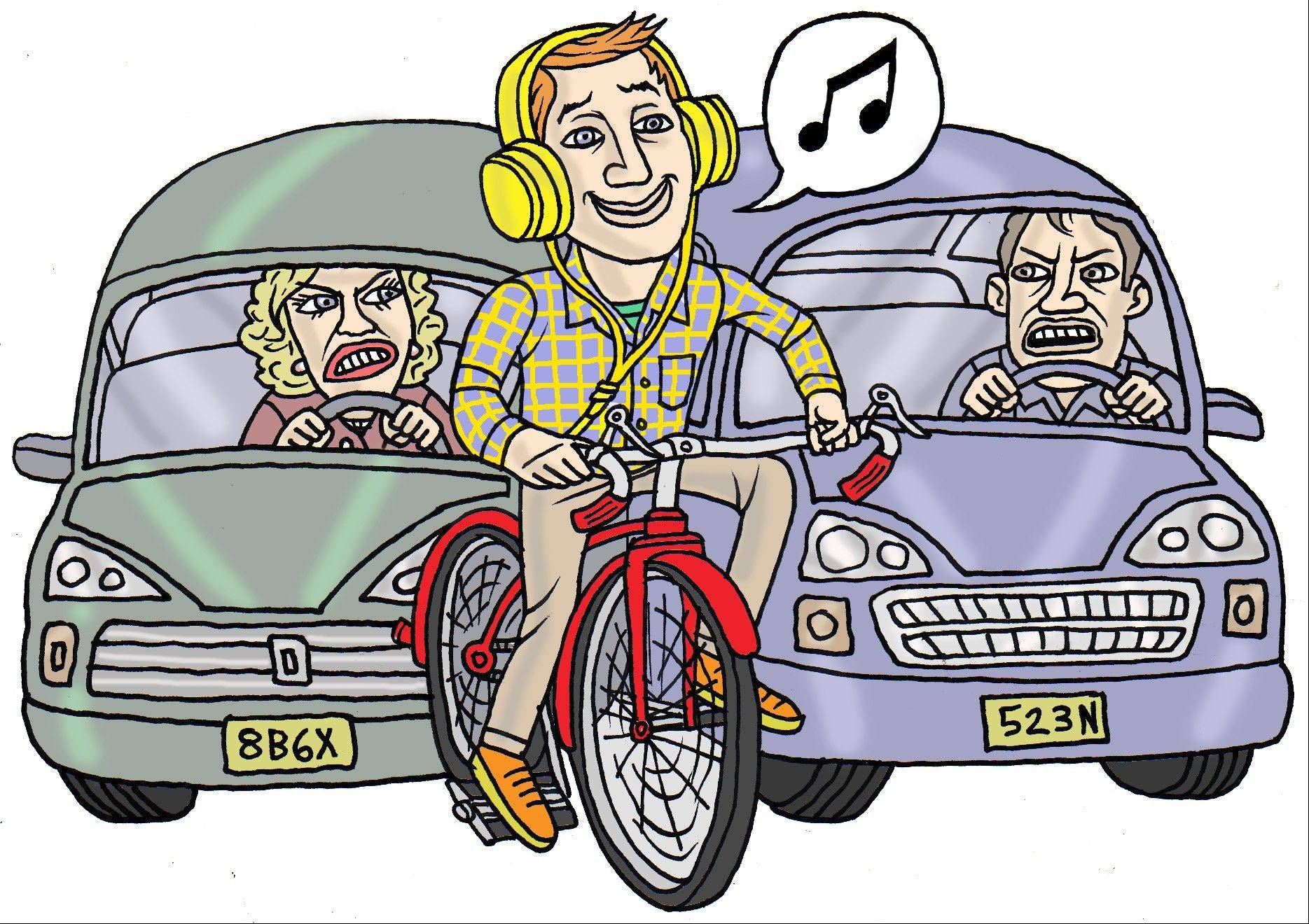 Cyclists, if you're wearing headphones, you're asking for trouble.