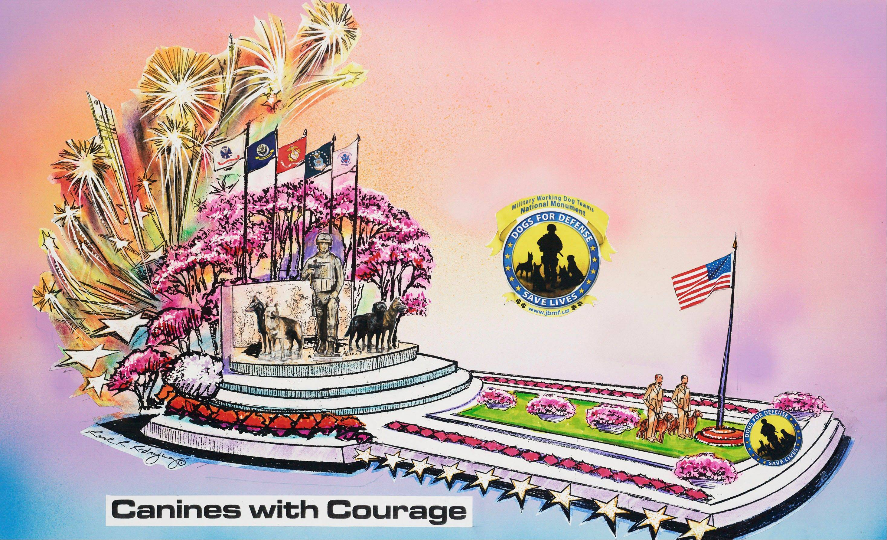 "In this undated publicity photo provided by Natural Balance, a rendering of a float called ""Canines with Courage,"" the Natural Balance entry for the Tournament of Roses parade in Pasadena on Jan. 1, 2013, is shown. War handler veteran, John Burnam, and dogs and handlers from every branch of the service will ride the float."
