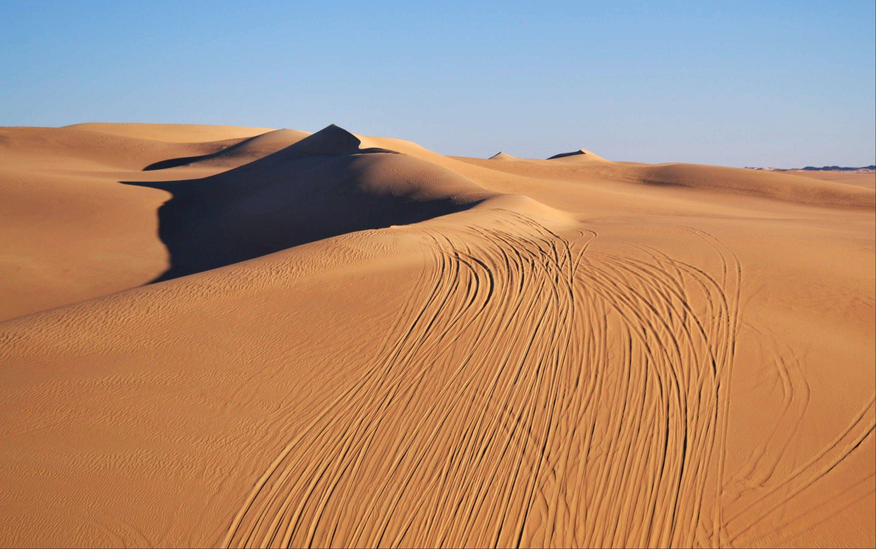 Tracks from four-wheel drives line the Great Sand Sea, a vast desert with huge rolling sand dunes that span the Egyptian and Libyan frontiers.