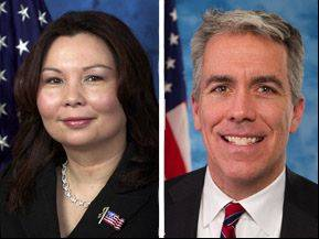 Tammy Duckworth, left, opposes Joe Walsh in the 8th Congressional District for the 2012 General Election.