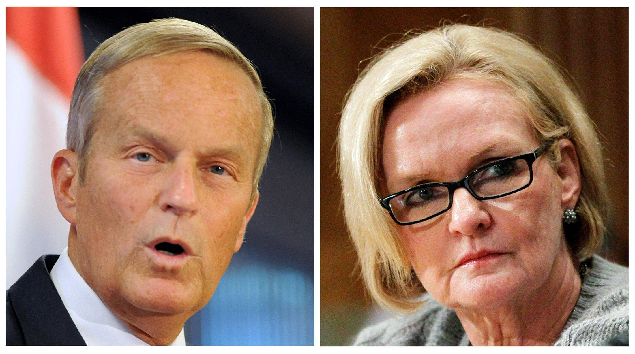 "In Missouri, U.S. Rep. Todd Akin, left, was deserted by the Republican establishment after he remarked in August that women's bodies have ways of avoiding pregnancy in cases of what he called ""legitimate rape."" He has fallen behind Sen. Claire McCaskill, who had been considered the most vulnerable Democratic incumbent in the Senate."