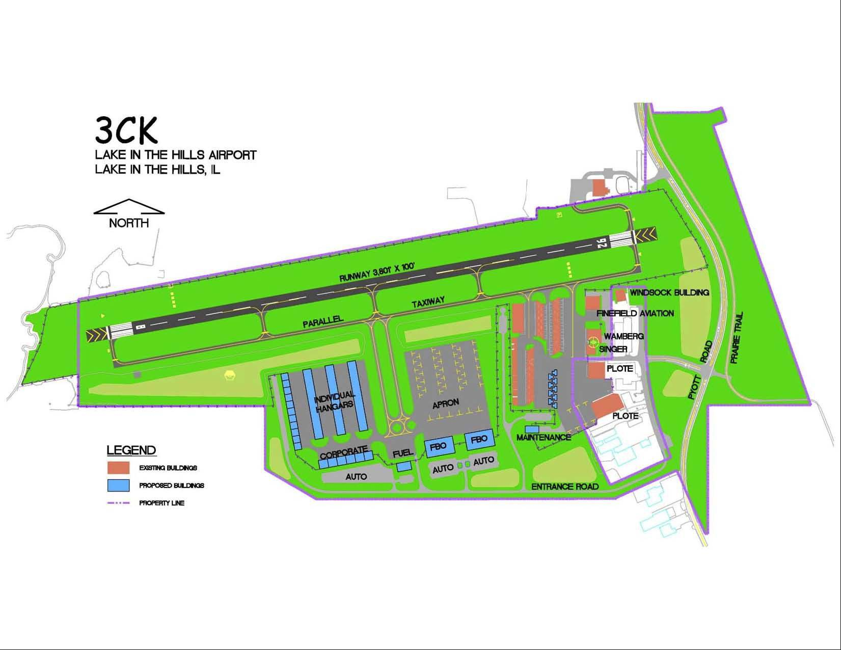 The safety improvements planned for the Lake in the Hills Airport include rebuilding and widening the current runway in 2022.