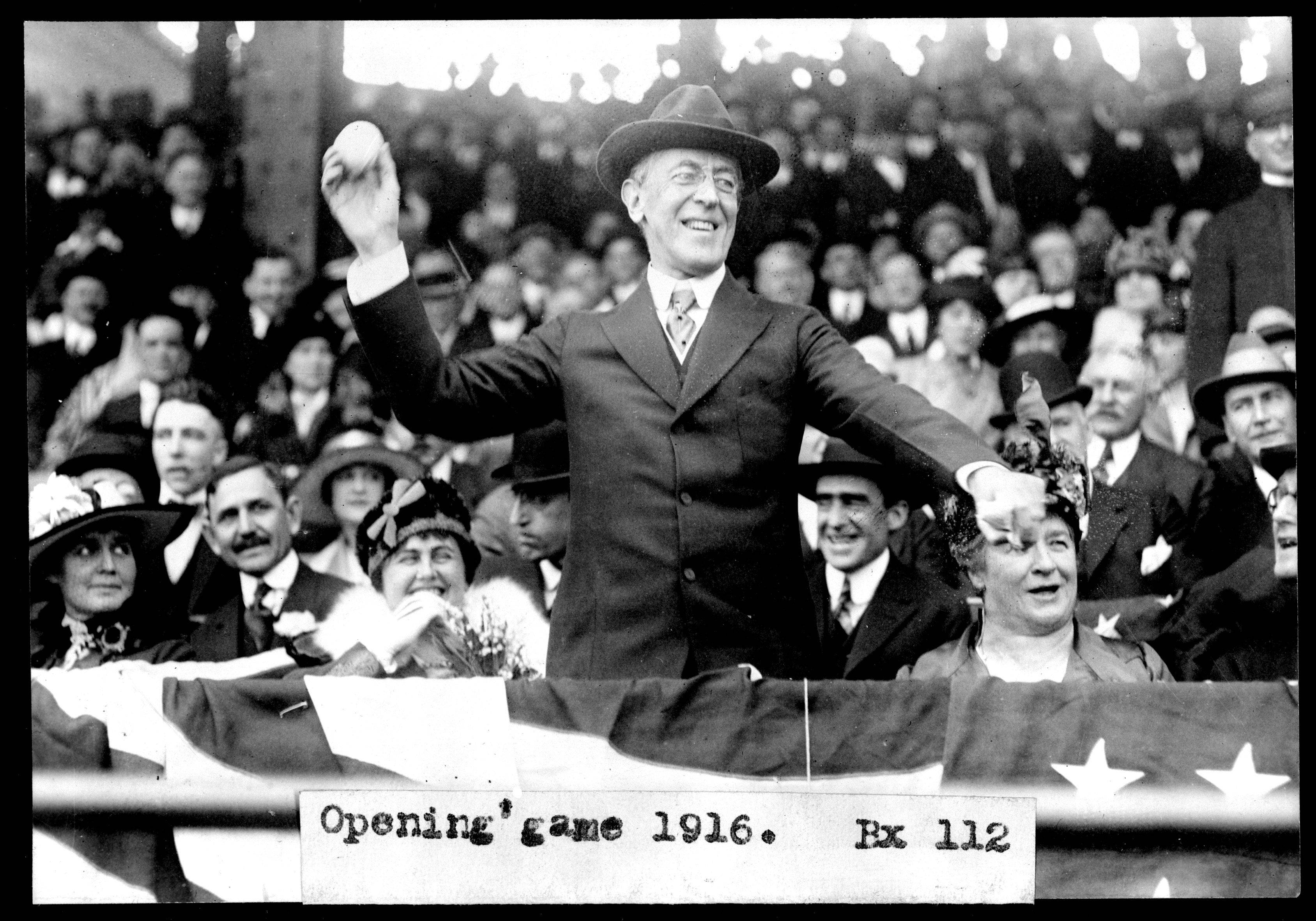 President Woodrow Wilson, shown throwing the first pitch at an opening day baseball game in 1916, was the winner of the 1912 presidential election, but in Elgin, the majority of voters supported Progressive (�Bull Moose�) party candidate Theodore Roosevelt.