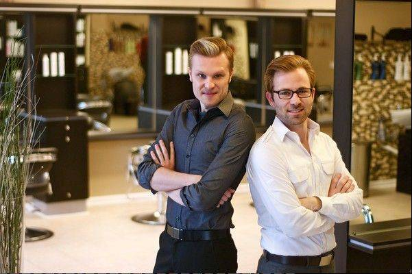 James Gartner, co-owner and hair artist director, from left, and Adam Swanlund co-owner and director of operations for Bii hair salon.