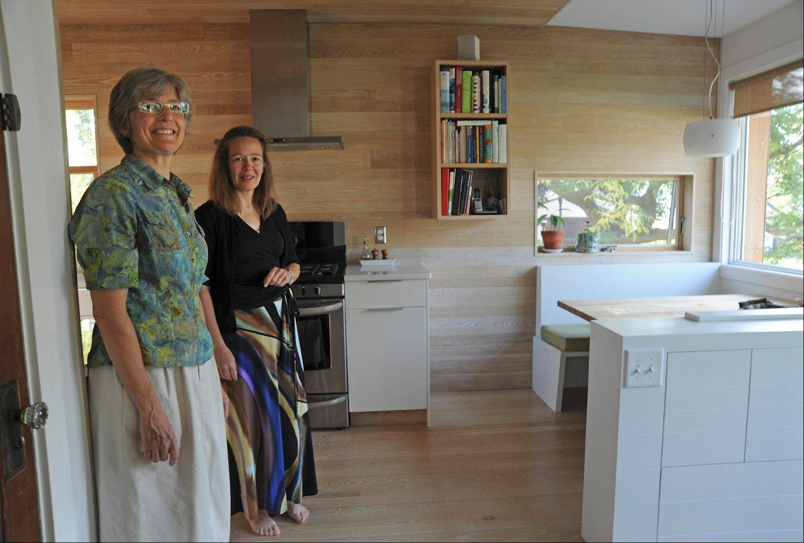 Kathy Wallace, left, and Sarah Pradt in their Scandinavian-inspired kitchen.