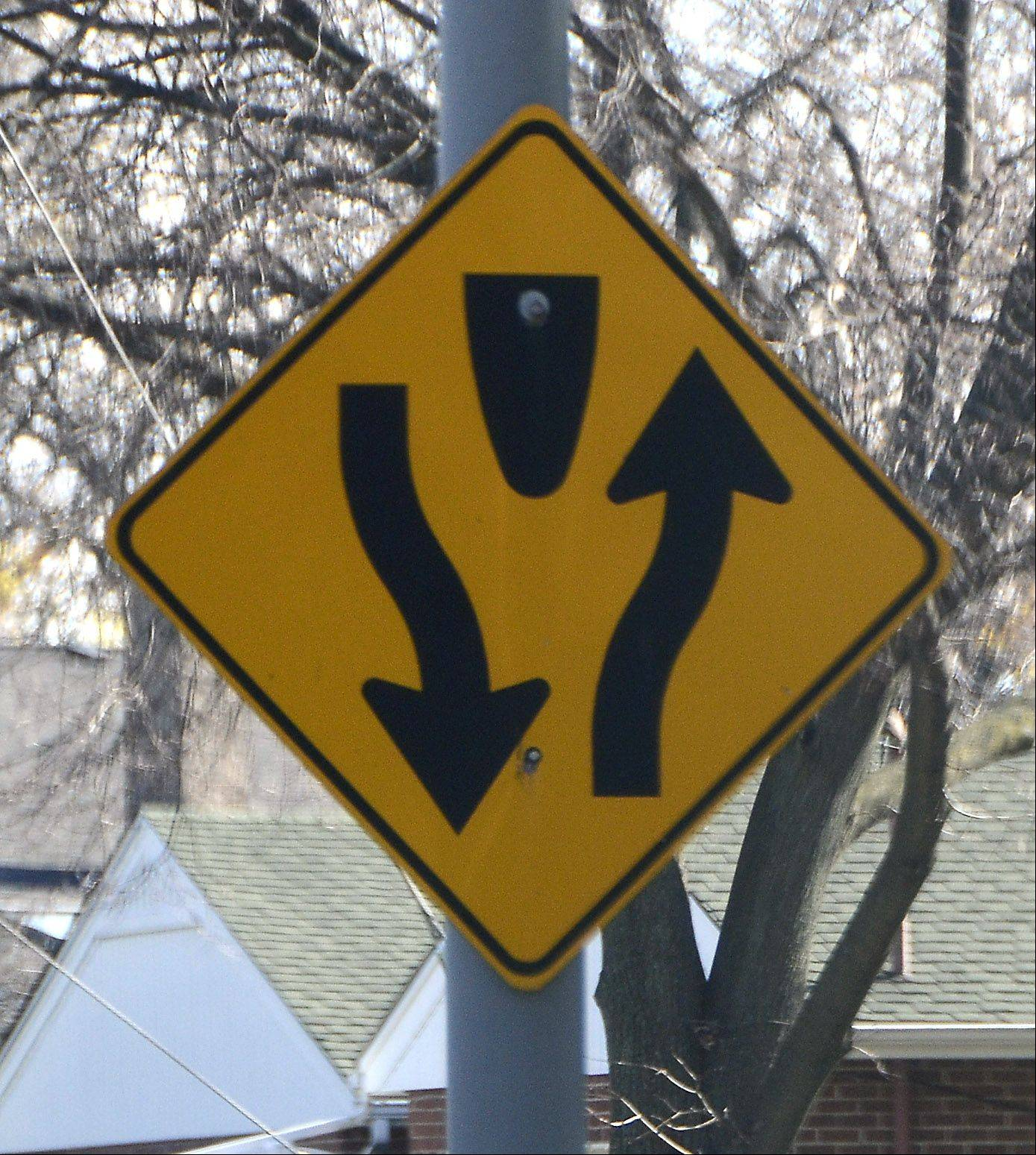 Know your signs. This one indicates a divided highway.