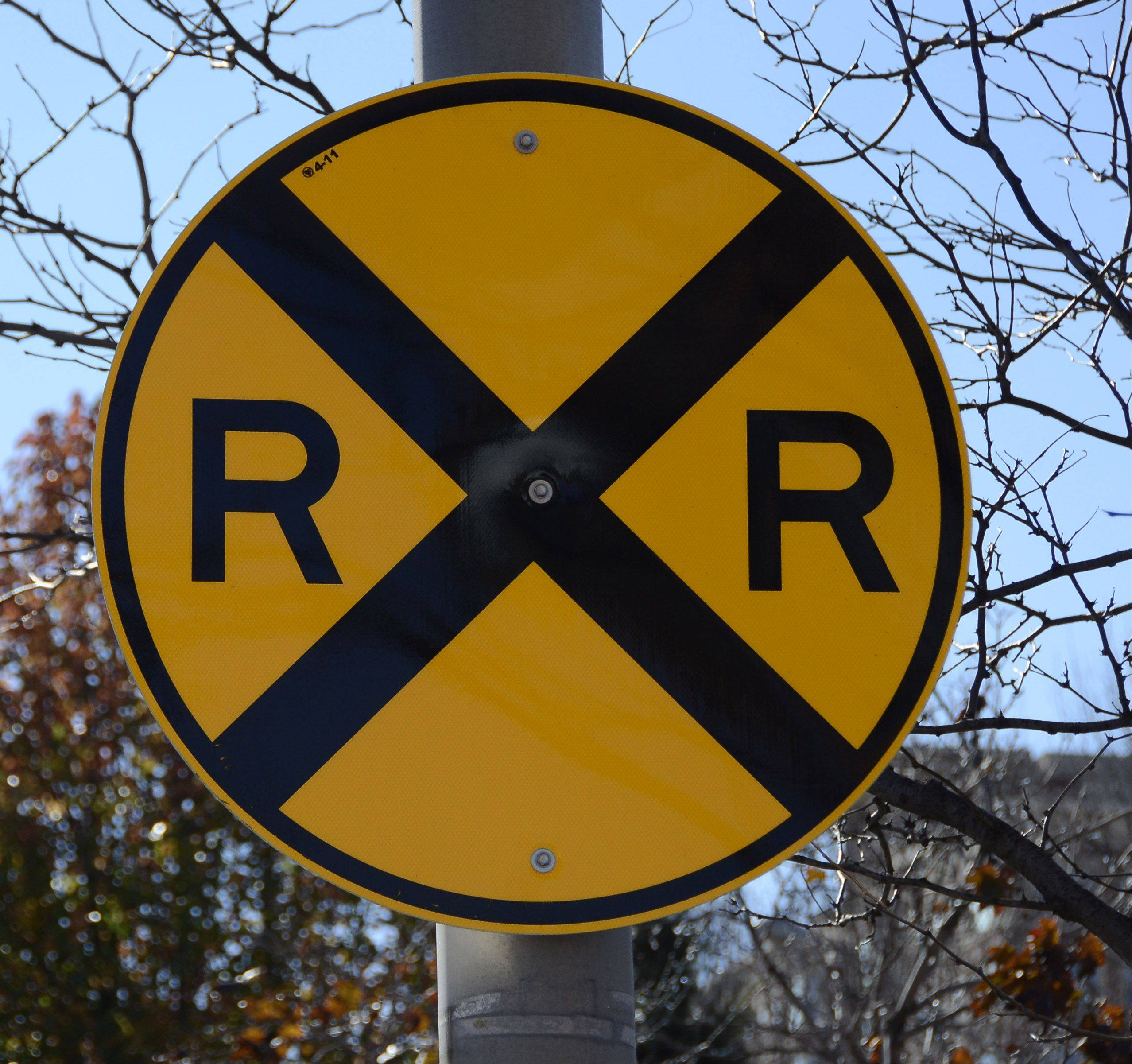 Know your signs. This one indicates a railroad crossing.
