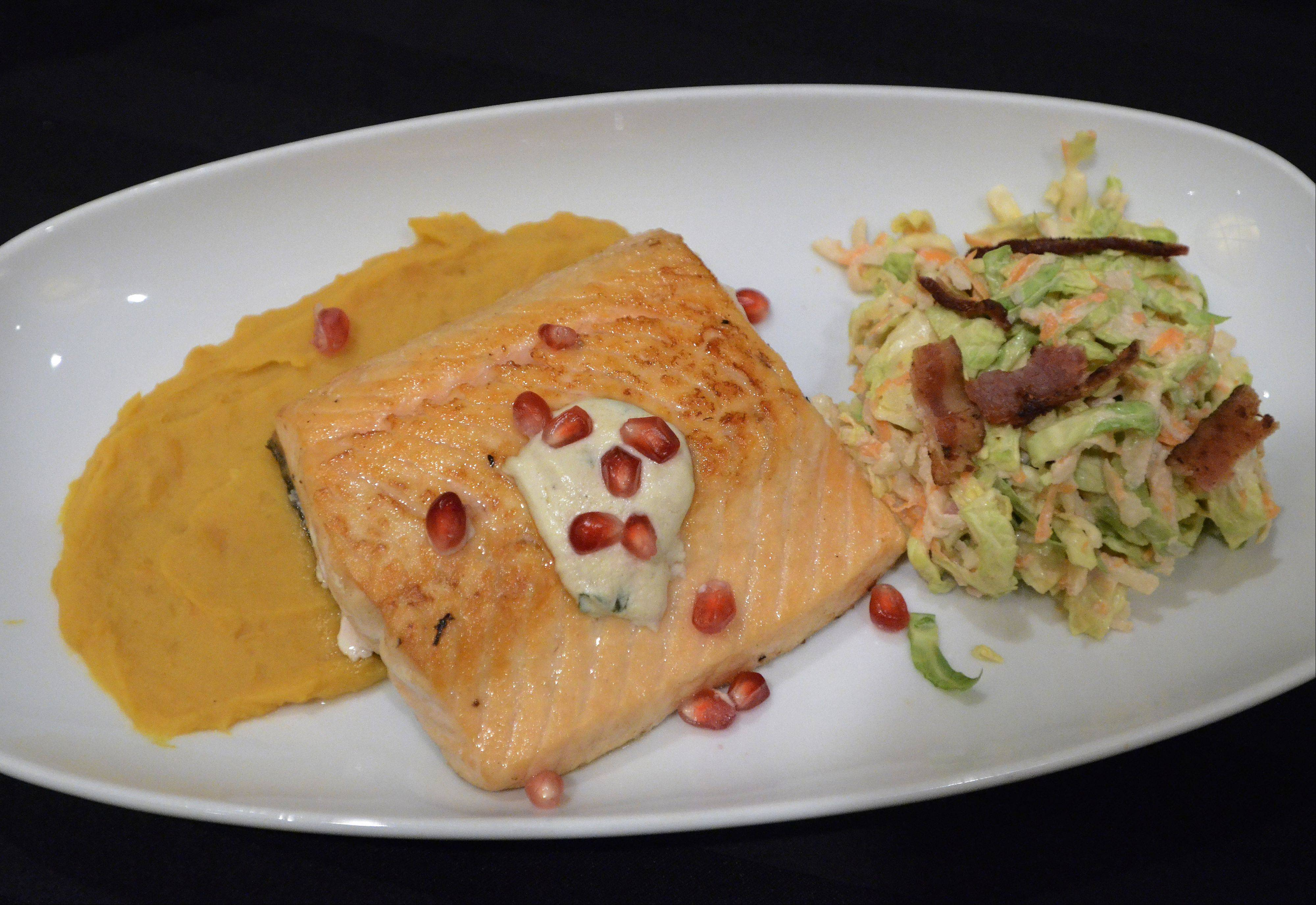 Michael Pennisi of Carpentersville won the Cook of the Week Challenge with his sauteed salmon with spicy sweet potatoes and brussels sprouts slaw.