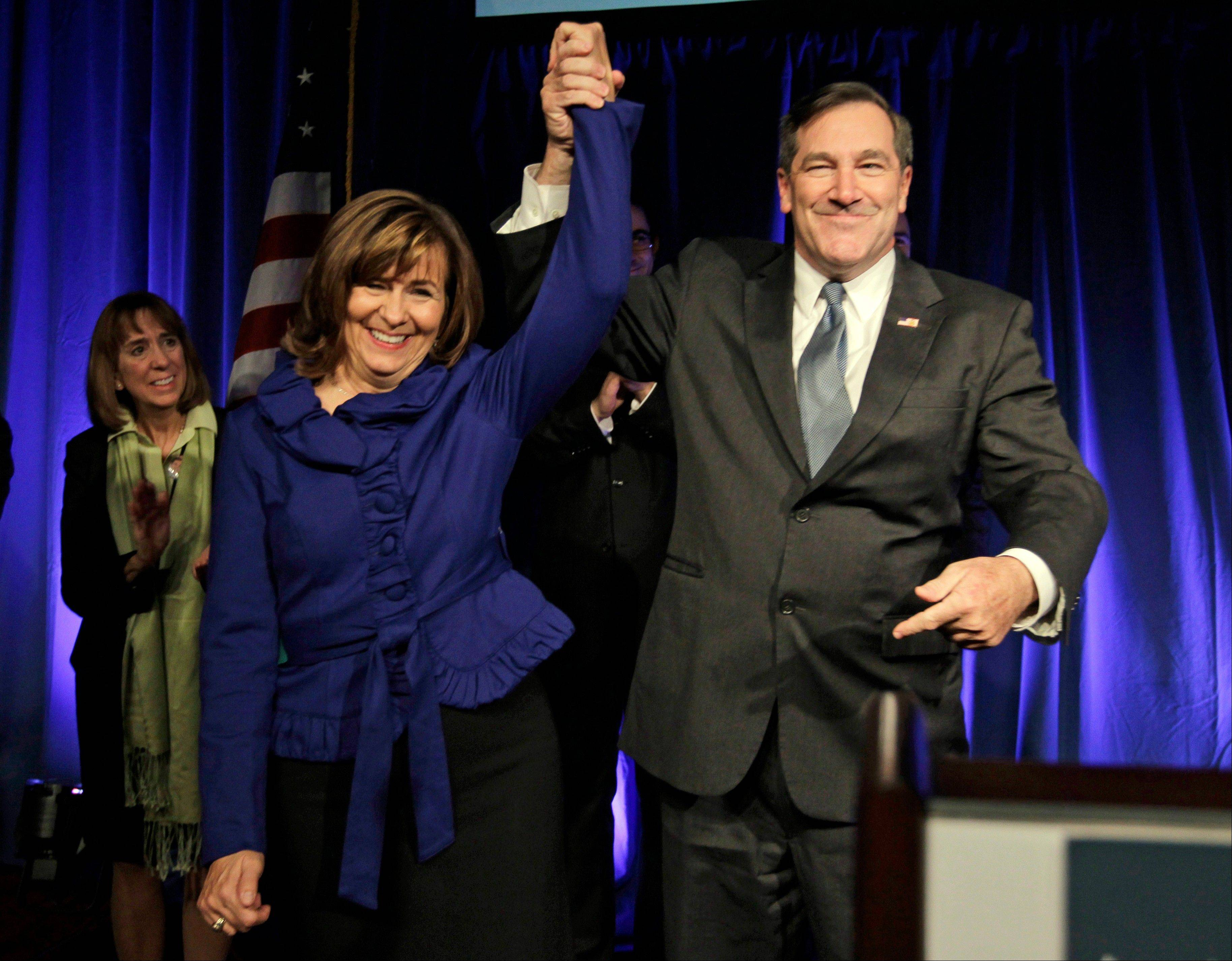 Democrat Joe Donnelly celebrates with his wife Jill after winning the U.S. Senate seat over Republican Richard Mourdock at an election night celebration in Indianapolis.