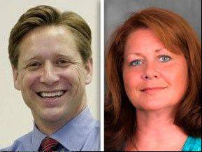 Republican state Sen. Dan Duffy, left, opposed Democrat Amanda Howland in the 26th Senate District.