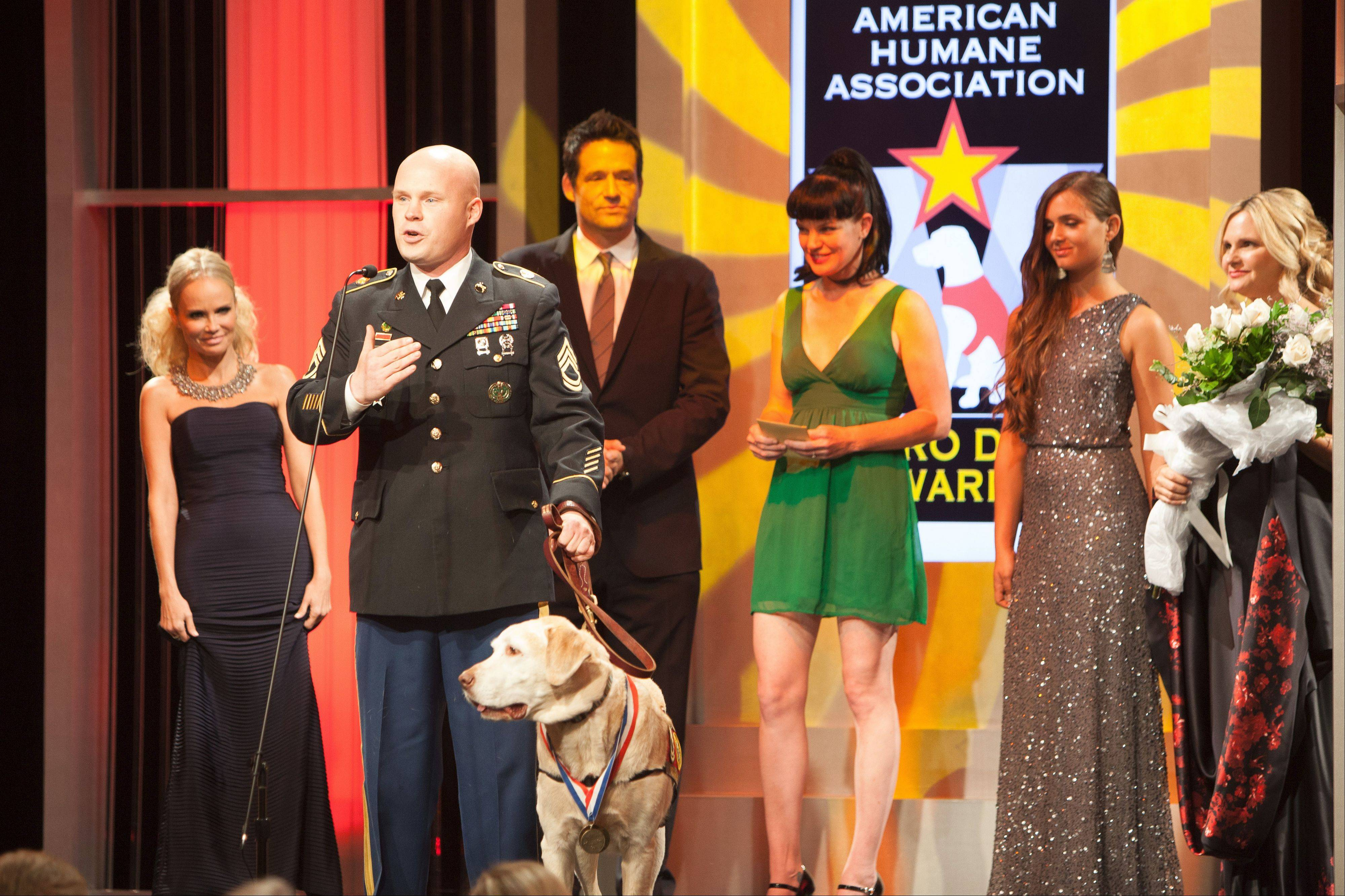 Sgt. 1st Class Charles Shuck's dog Gabe, a yellow Lab, was honored at the American Humane Association Hero Dog Awards, airing at 7 p.m. Thursday, Nov. 8, on Hallmark Channel.