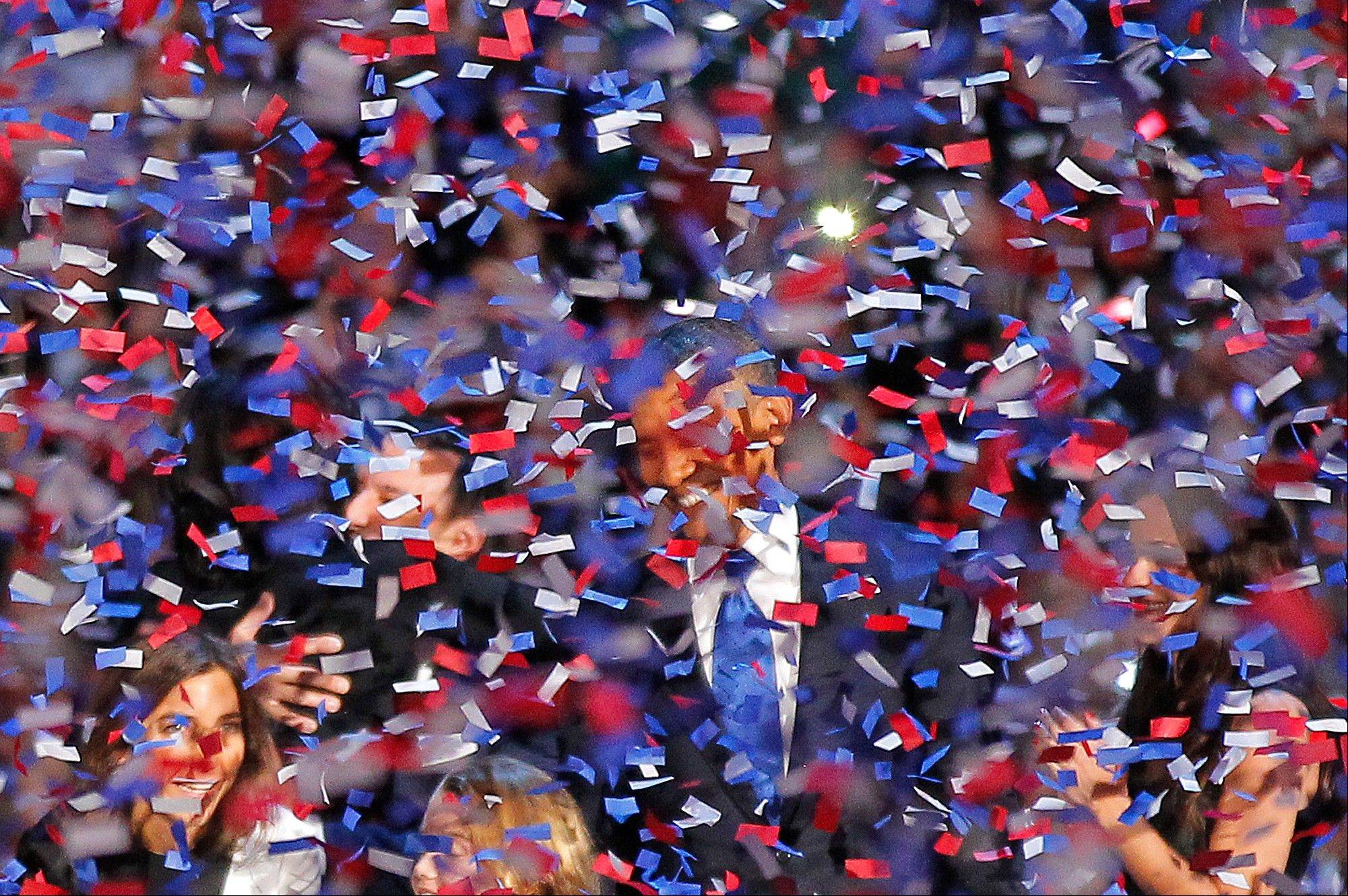President Barack Obama smiles after delivering his victory speech to supporters gathered in Chicago early Wednesday Nov. 7 2012.